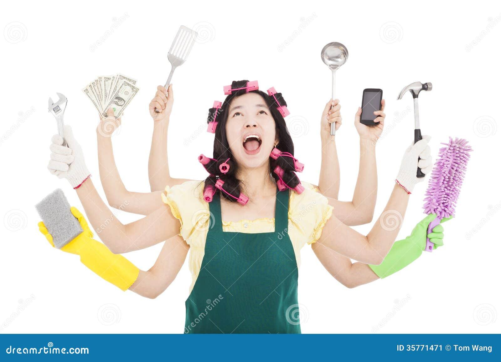 Mujer ocupada con concepto polivalente