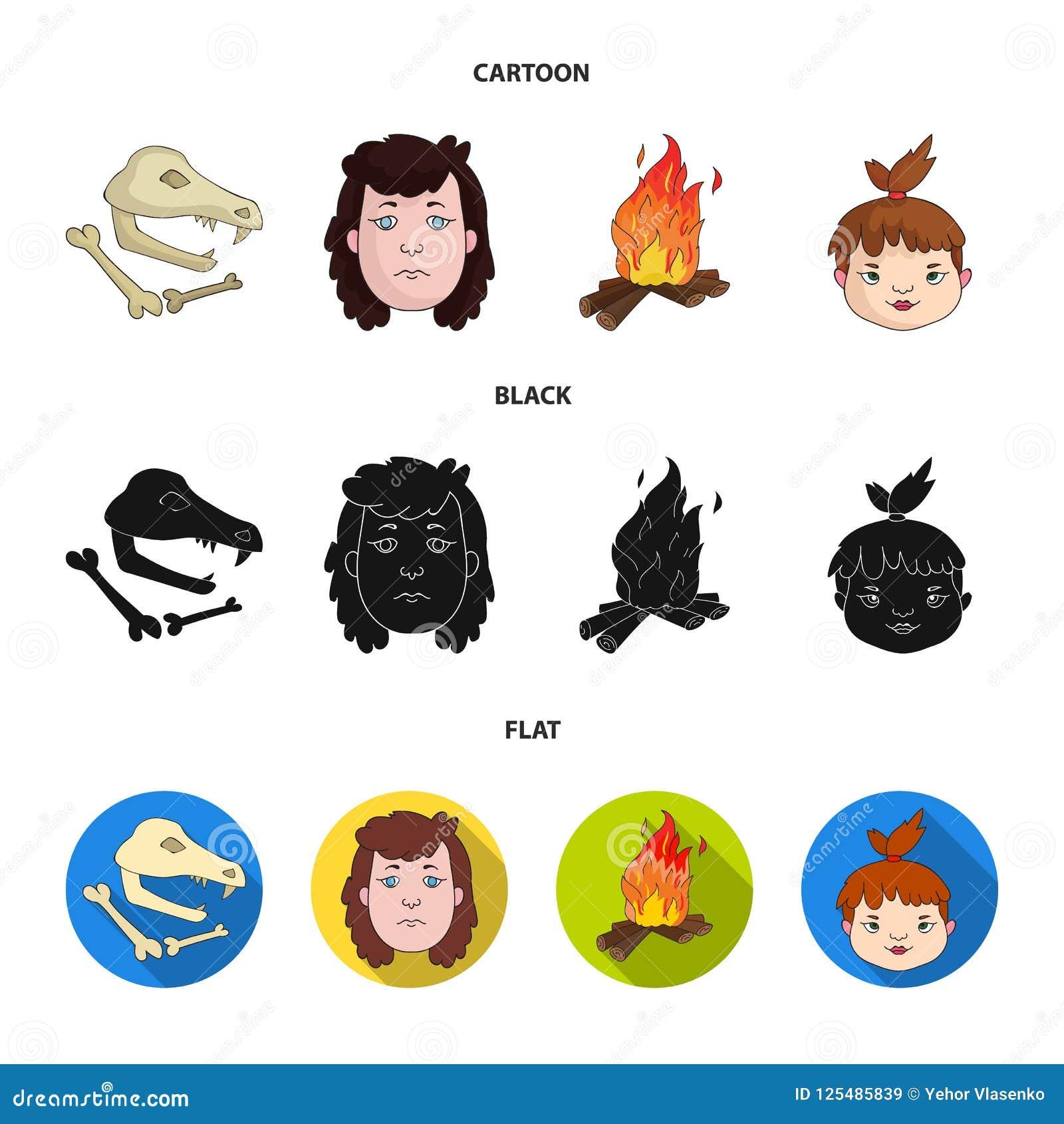 Mujer, pelo, cara, hoguera Iconos determinados de la colección de la Edad de Piedra en la historieta, negro, ejemplo plano de la