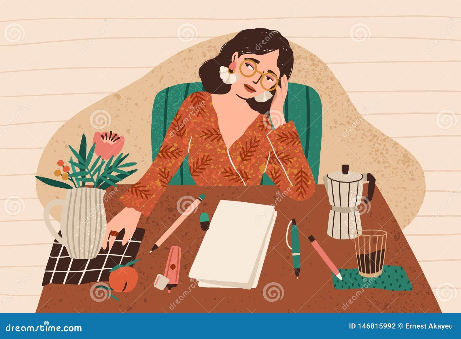 Mujer pensativa joven que se sienta en el escritorio con la hoja de papel limpia delante de ella Concepto del bloque del escritor