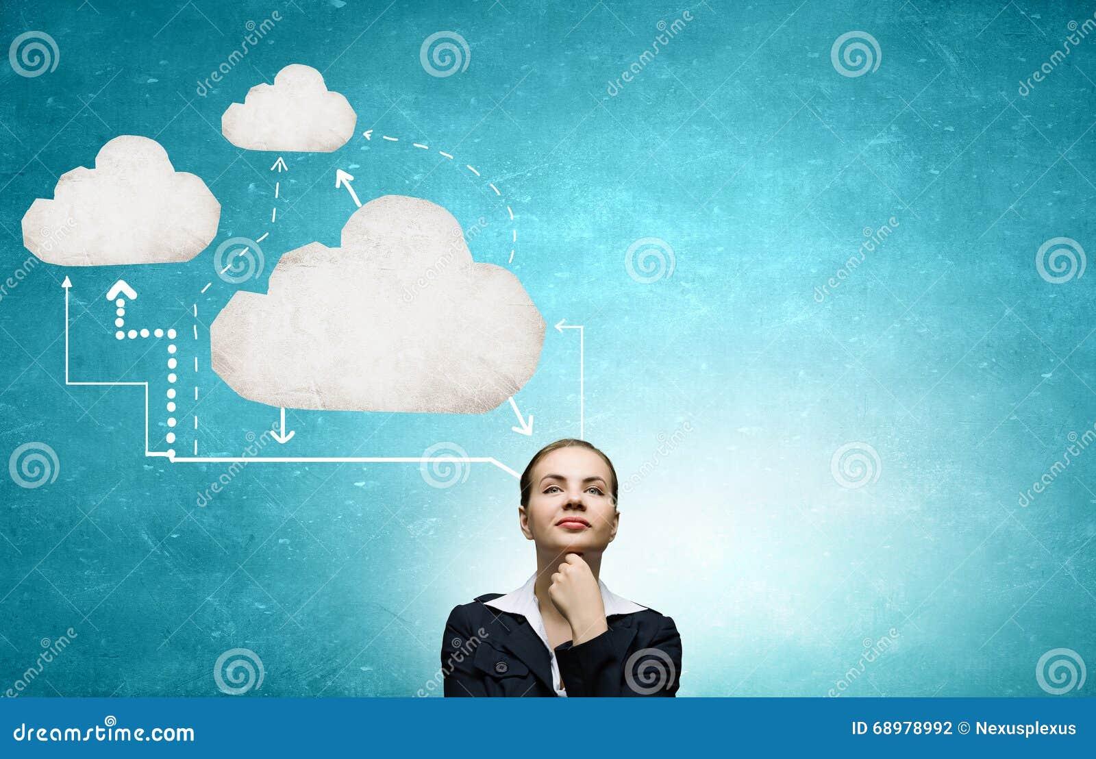 Mujer pensativa y sus pensamientos