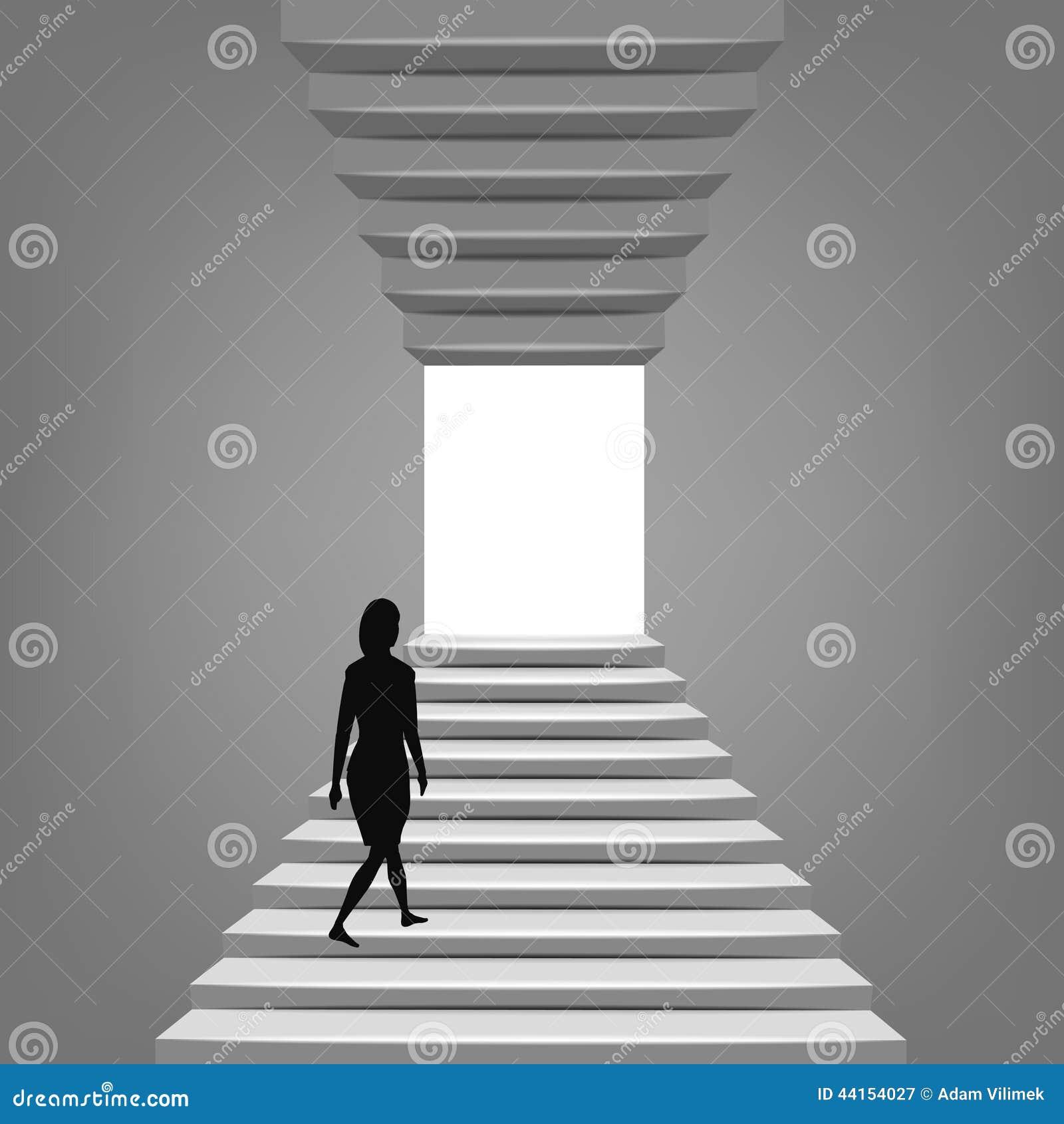 Mujer Que Camina Para Arriba En Escalera Arriba Y Abajo De Concepto Ilustración Del Vector Ilustración De Mujer Escalera 44154027