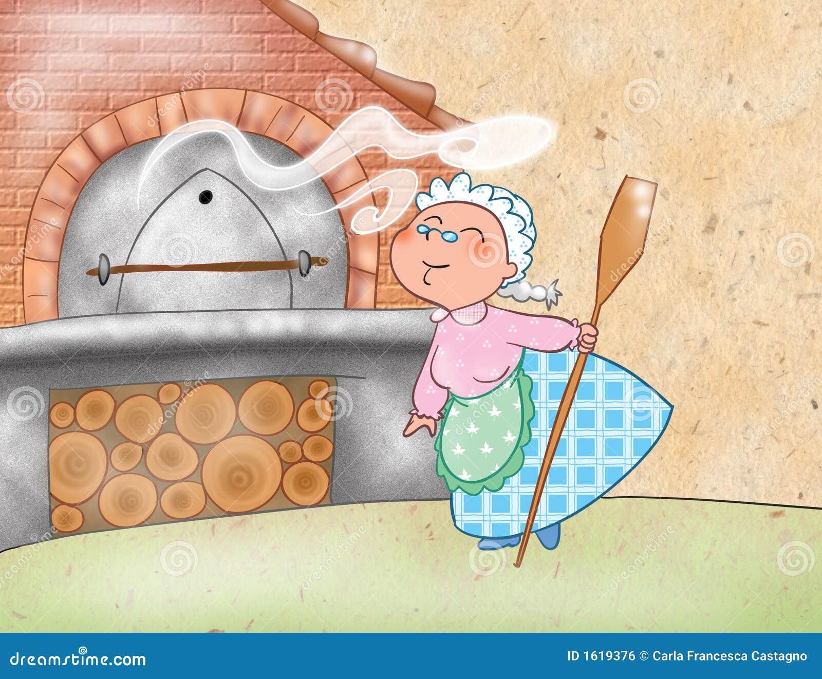 Mujer que cocina con un horno madera-ardiendo