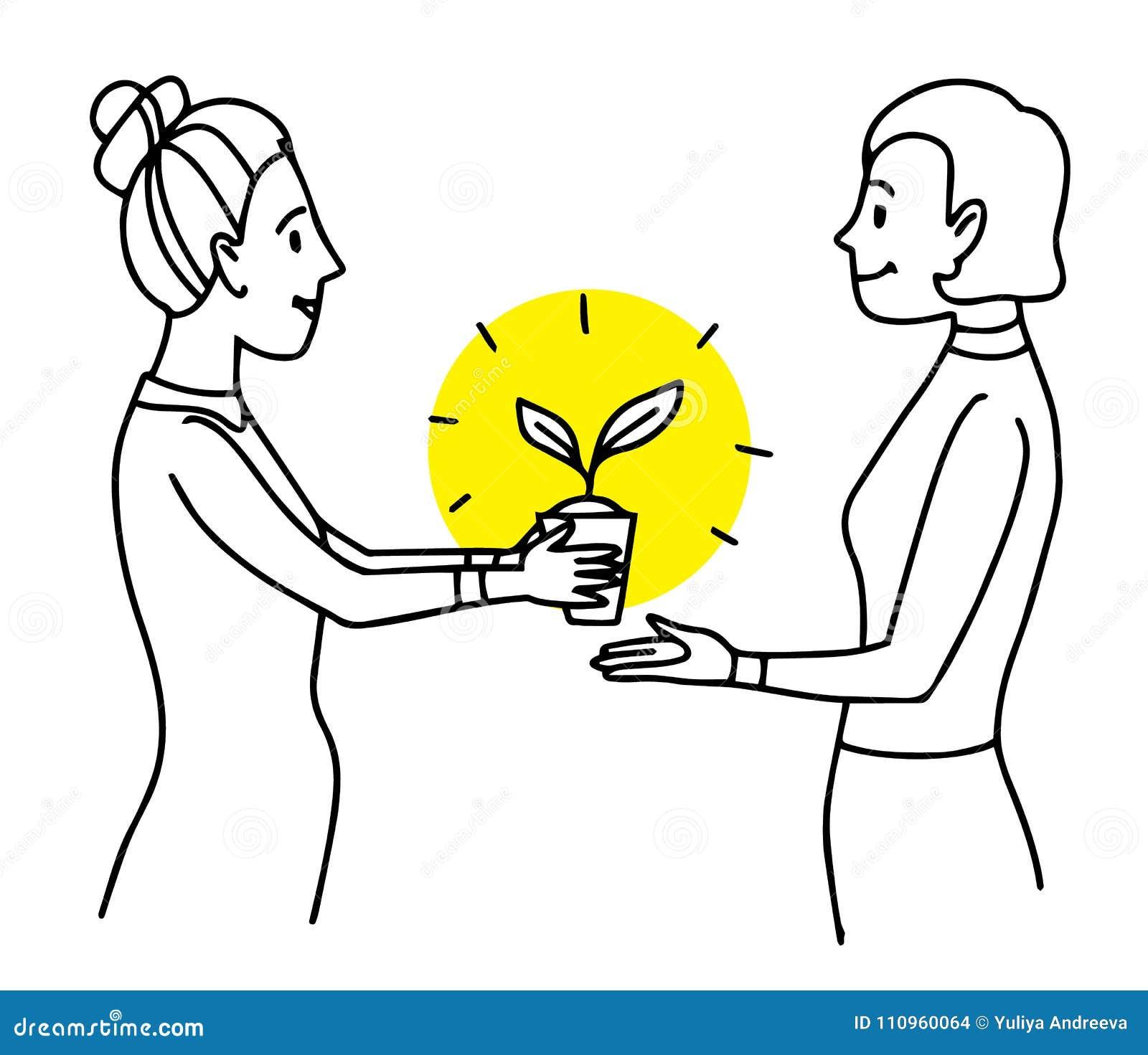Mujer que da un pote con la planta a otra mujer Ejemplo de la situación de la forma de vida Dibujo de esquema aislado vector