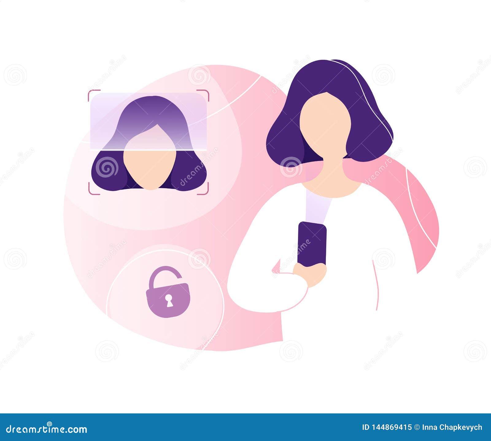 Mujer que desbloquea el tel?fono usando el reconocimiento de cara