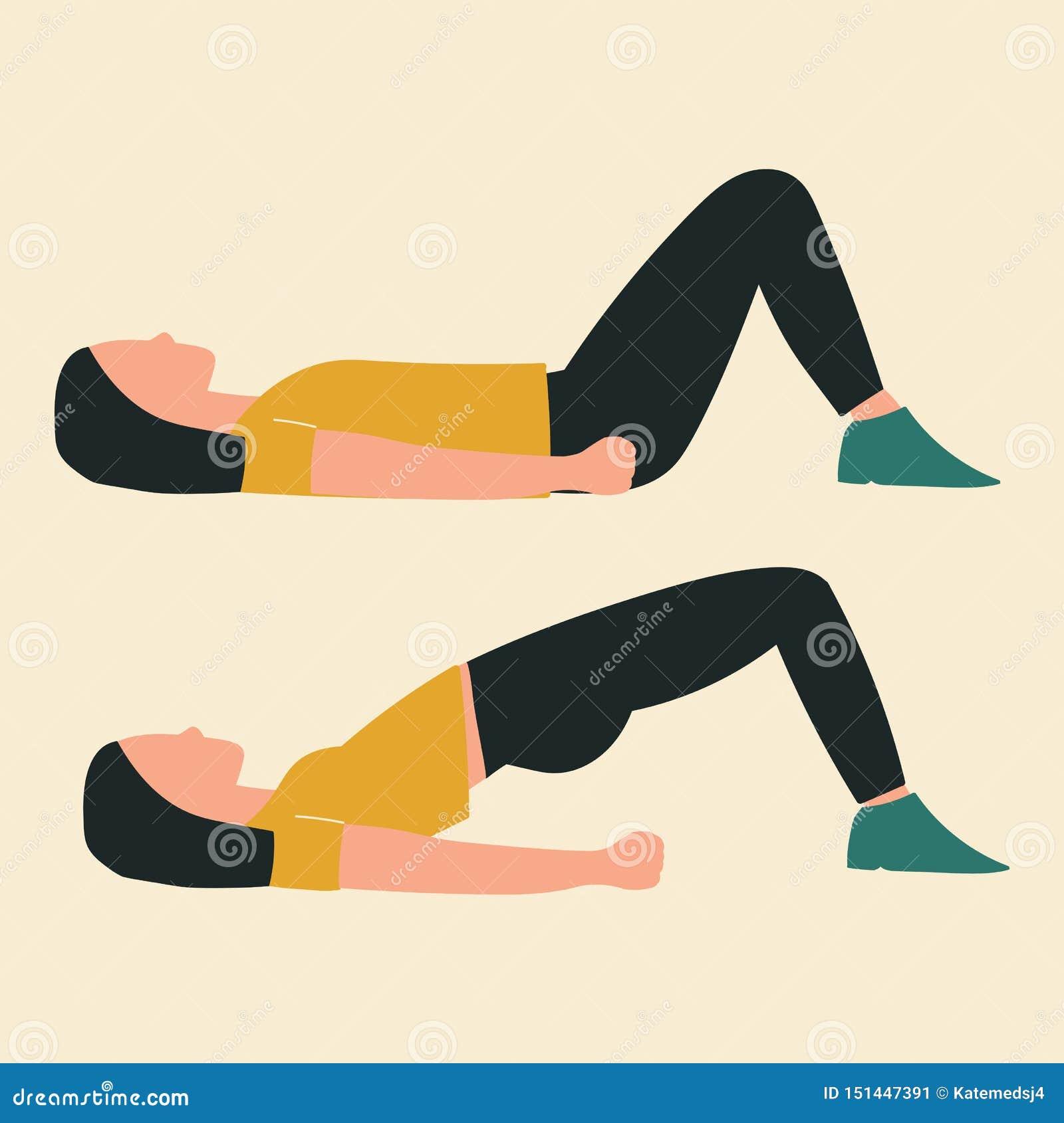 Mujer que hace empujes de la cadera Ejemplos de los ejercicios y de los entrenamientos del glute Ejemplo plano del vector