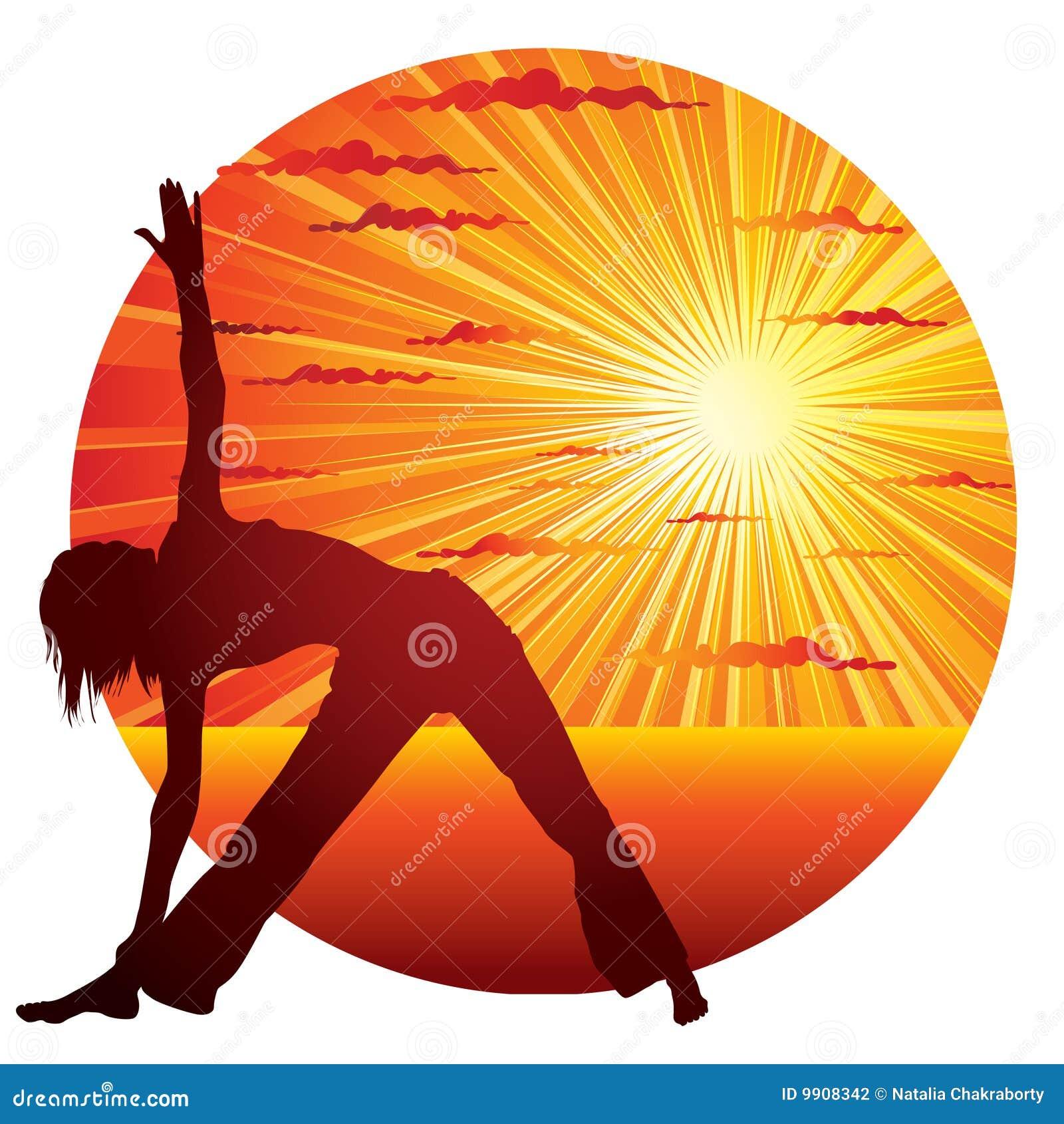 Mujer que hace la gimnasia de la yoga