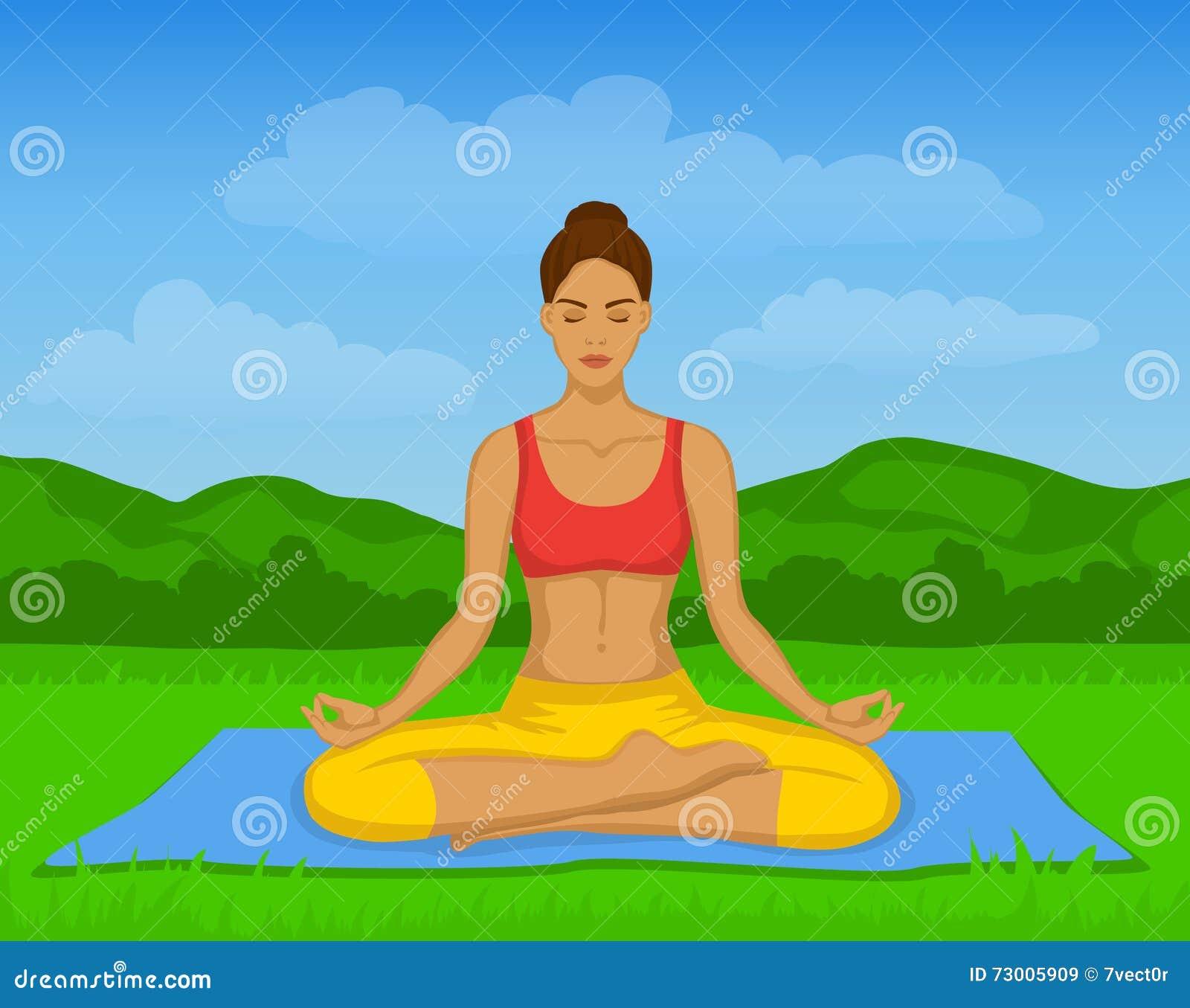 Mujer que hace la meditación de la yoga en Lotus Pose Outside Vector Illustration