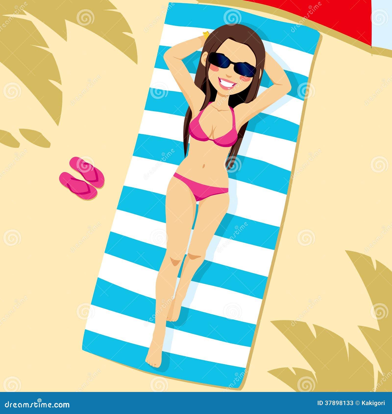 72f57ccd11ee Mujer Que Miente En La Playa Ilustración del Vector - Ilustración de ...