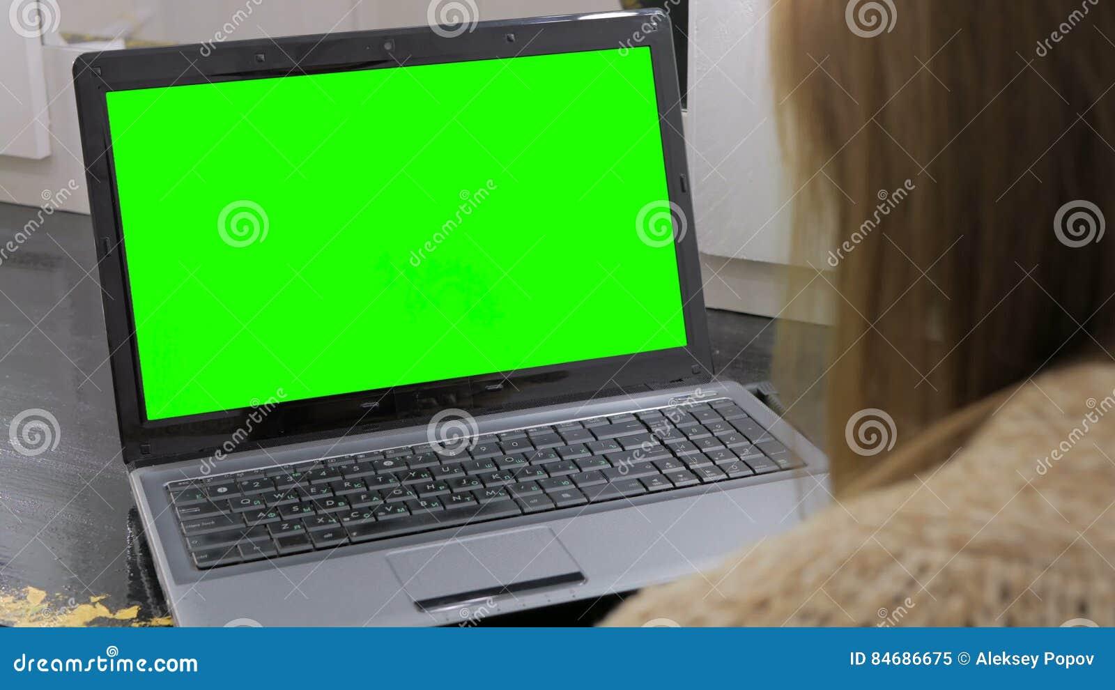 Mujer que mira el ordenador portátil con la pantalla verde