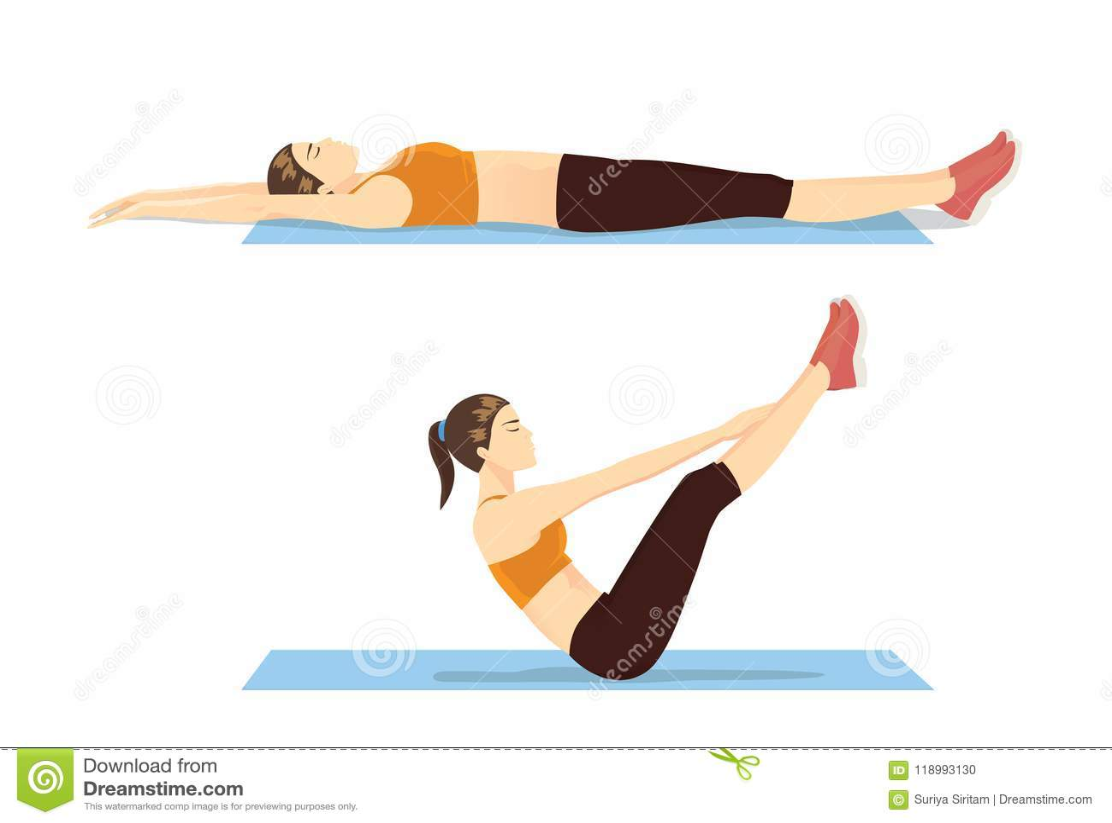 Mujer que muestra paso del entrenamiento abdominal con el ejercicio de v-UPS