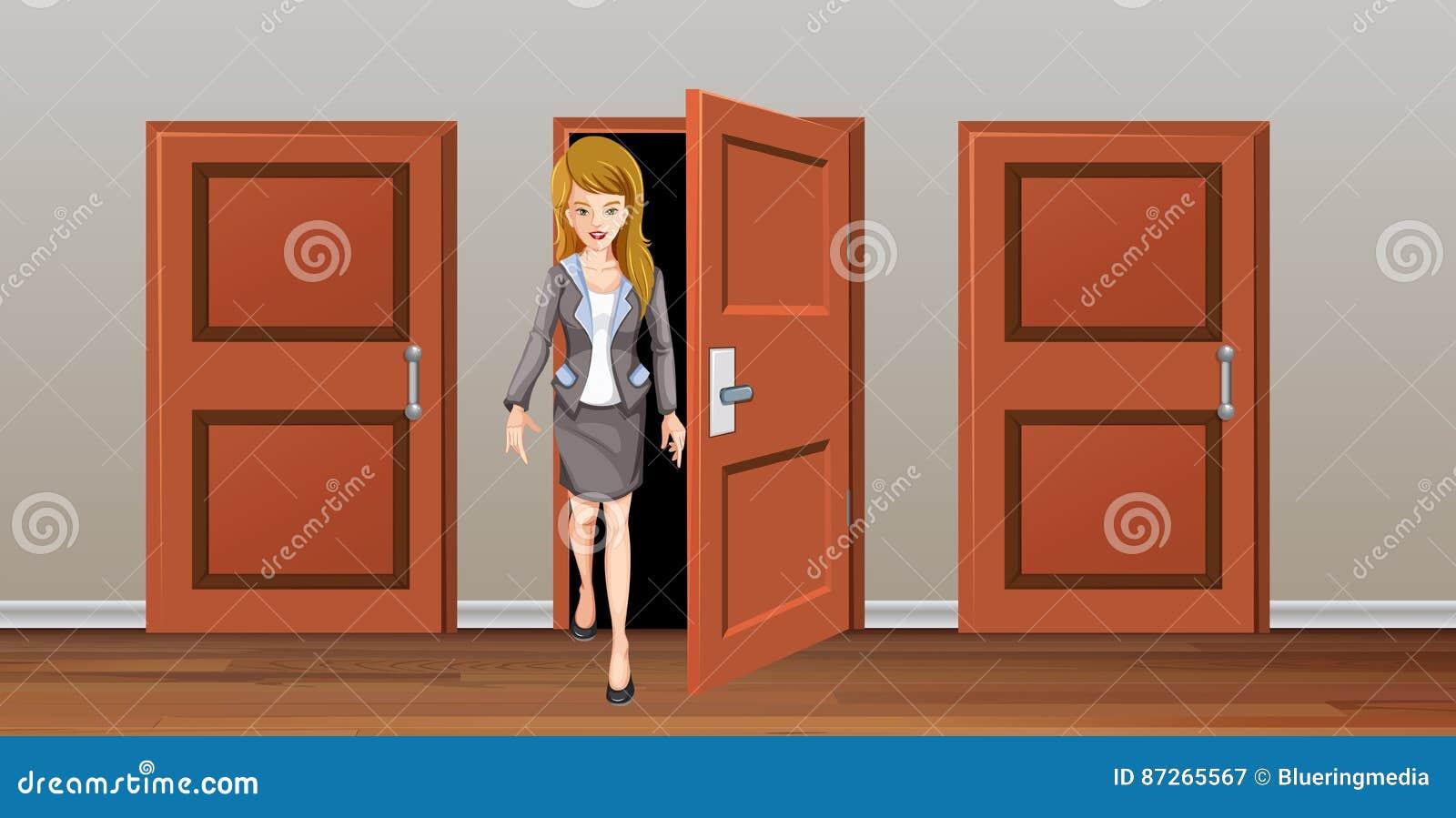 Mujer Que Sale De La Puerta De Madera Ilustración del Vector ...