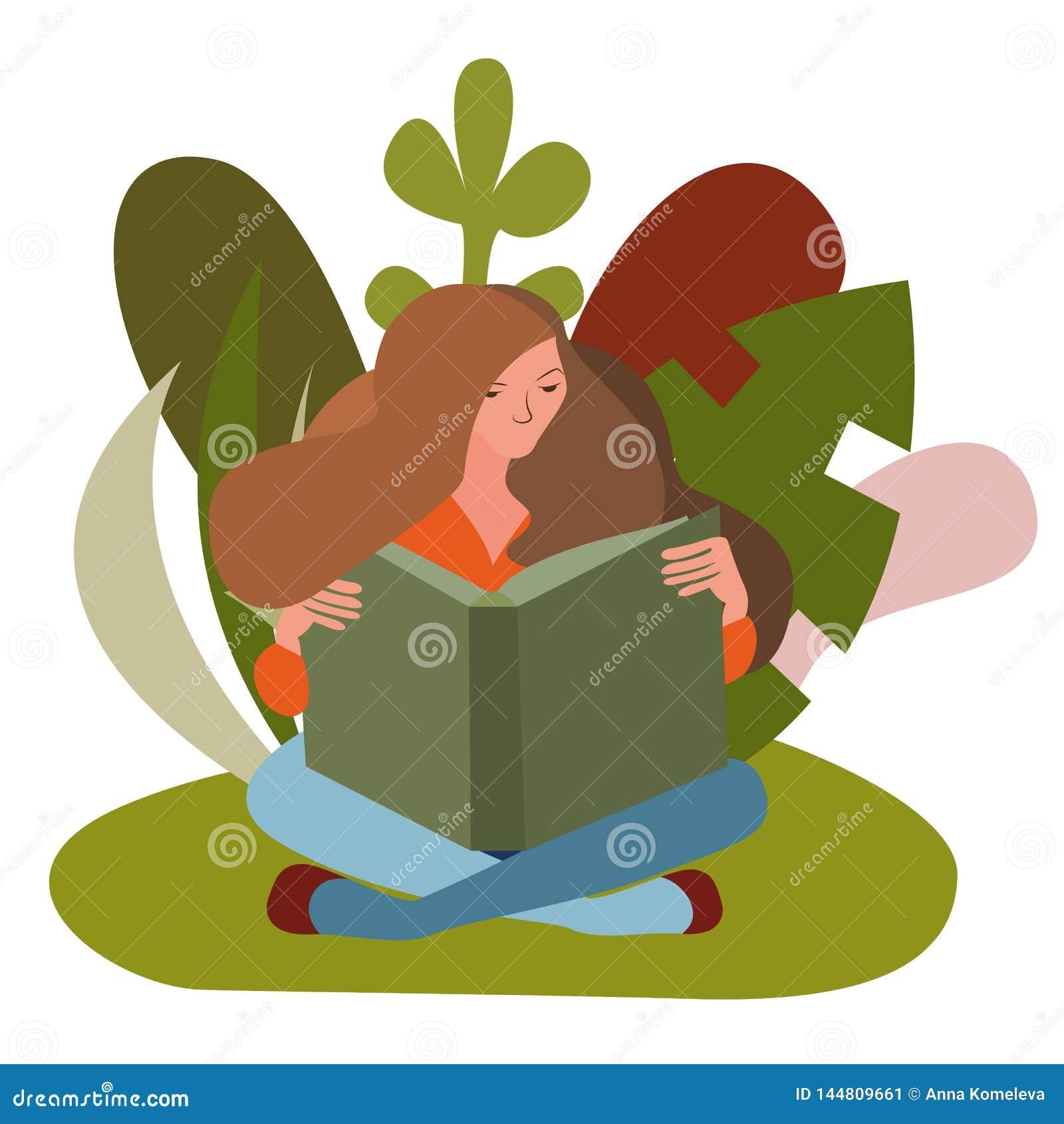 Mujer que se sienta leyendo un libro al aire libre