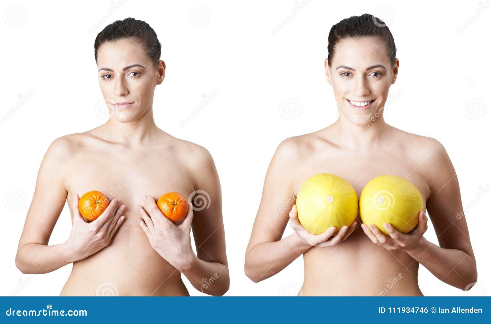 Mujer que sostiene las satsumas y los melones para ilustrar el pecho Enlargeme