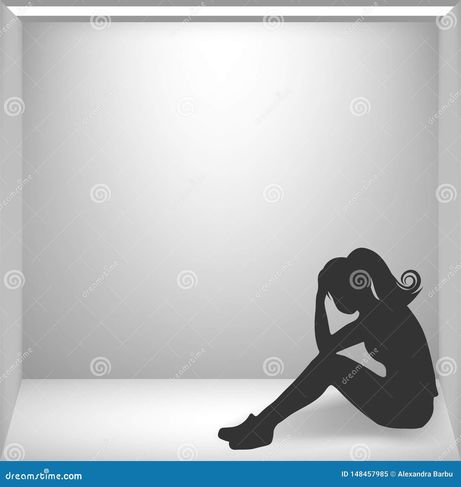 Mujer que tiene ataque de pánico, sitio del pánico, aislamiento