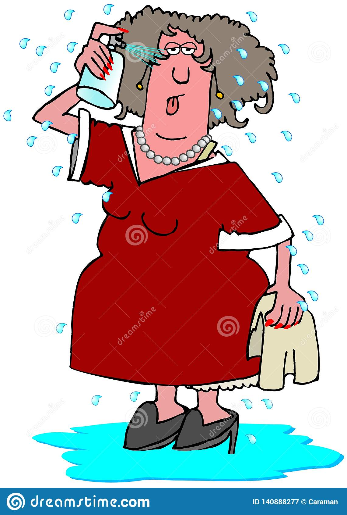 Mujer que tiene un flash caliente