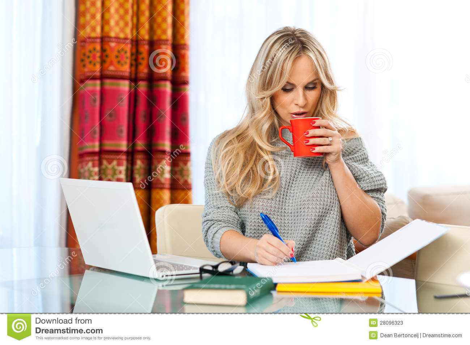Mujer que trabaja en la computadora port til en casa imagen de archivo imagen 28096323 - Trabaja en casa ...
