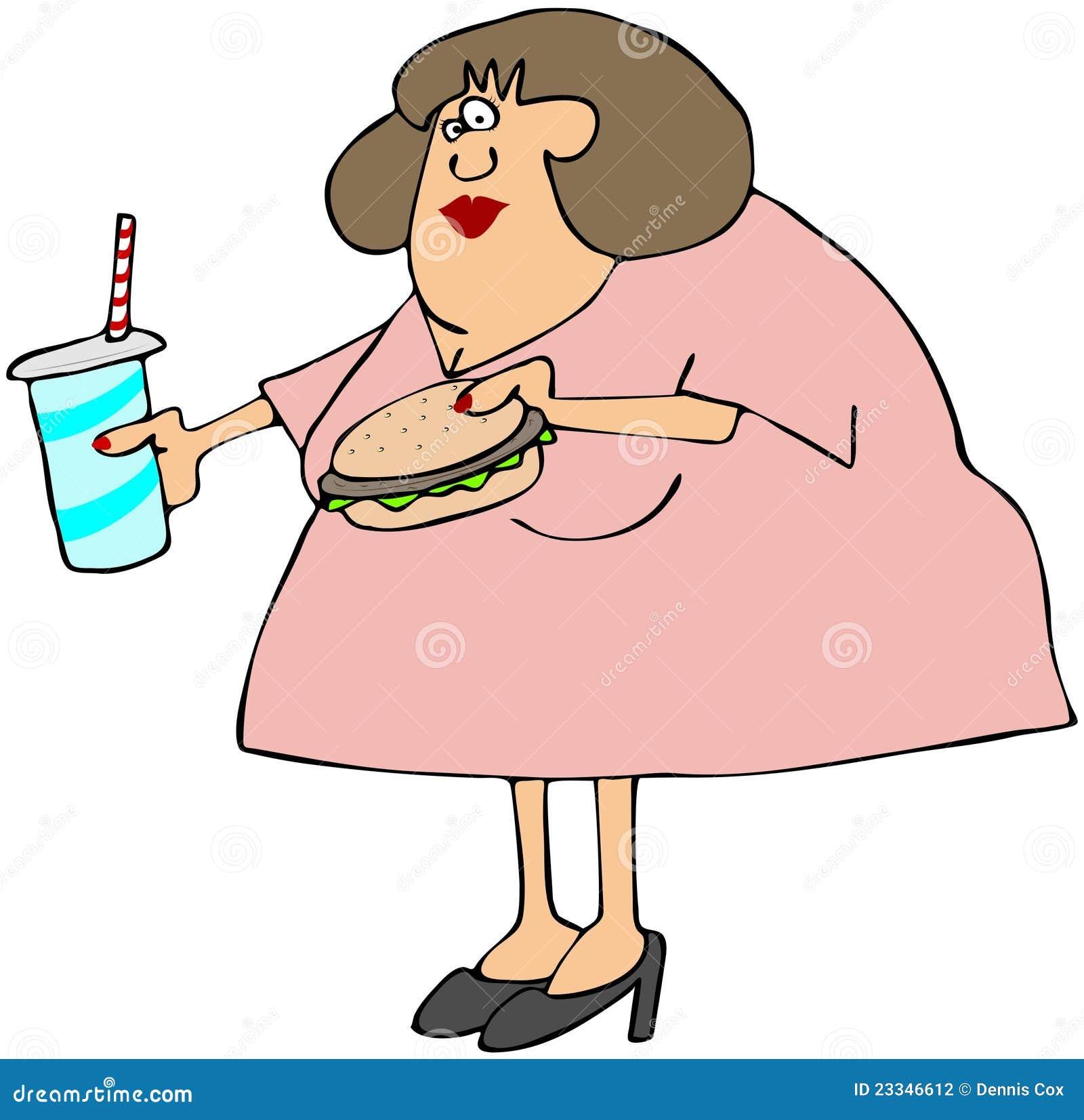 Mujer rechoncha que come los alimentos de preparación rápida