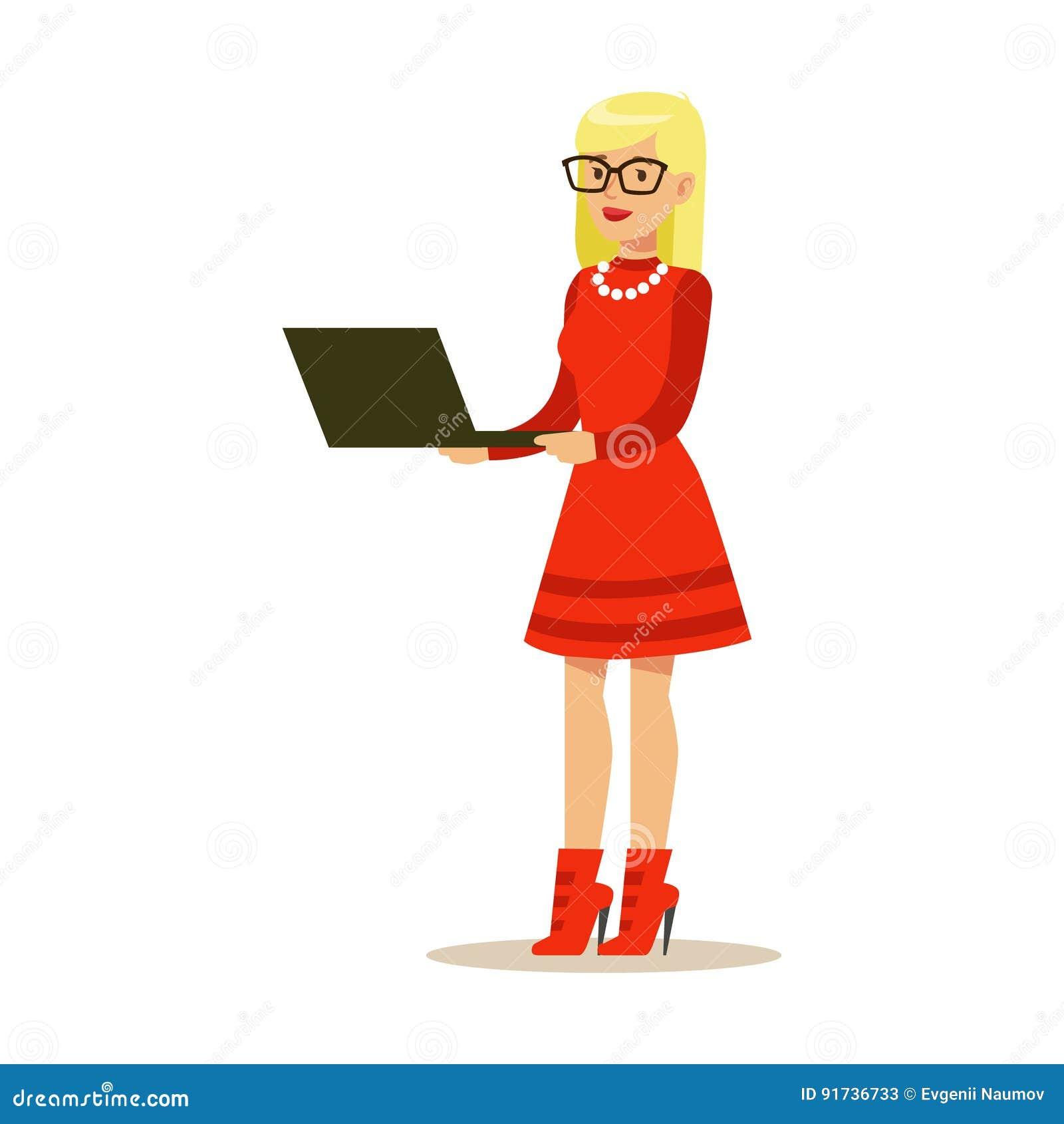 Mujer rubia joven en un ordenador portátil rojo de la situación y con del vestido Ejemplo colorido del vector del carácter