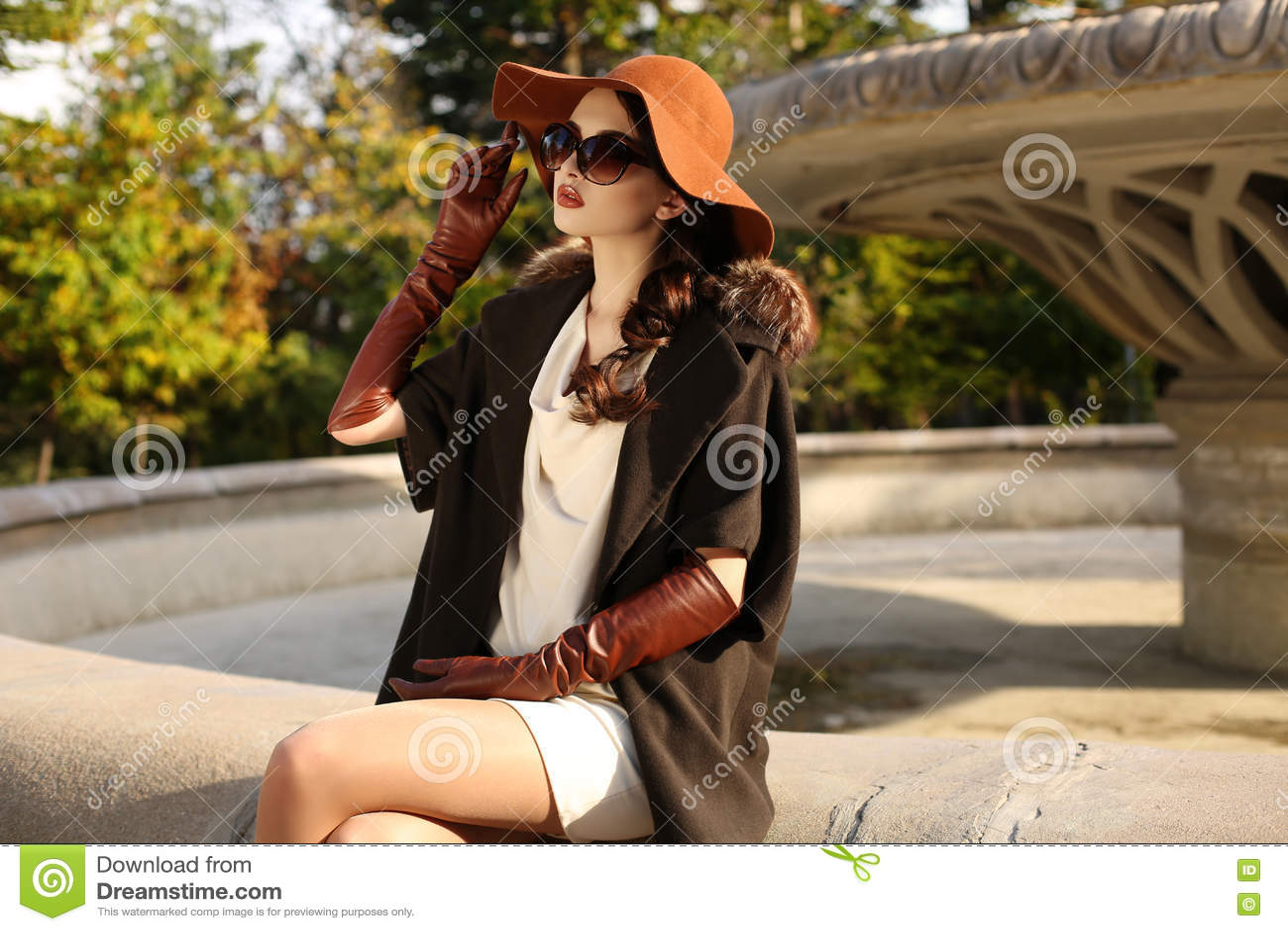 2a87efcc6 Forme la foto al aire libre de la mujer sensual magnífica con el pelo oscuro  en la capa lujosa elegante