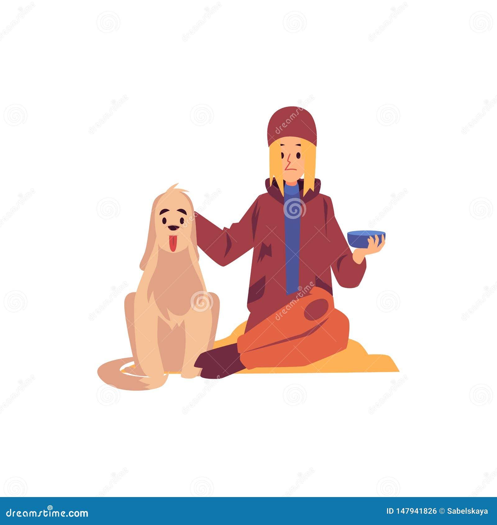Mujer sin hogar que se sienta con el perro y que lleva a cabo el petición de estilo de la historieta del cuenco