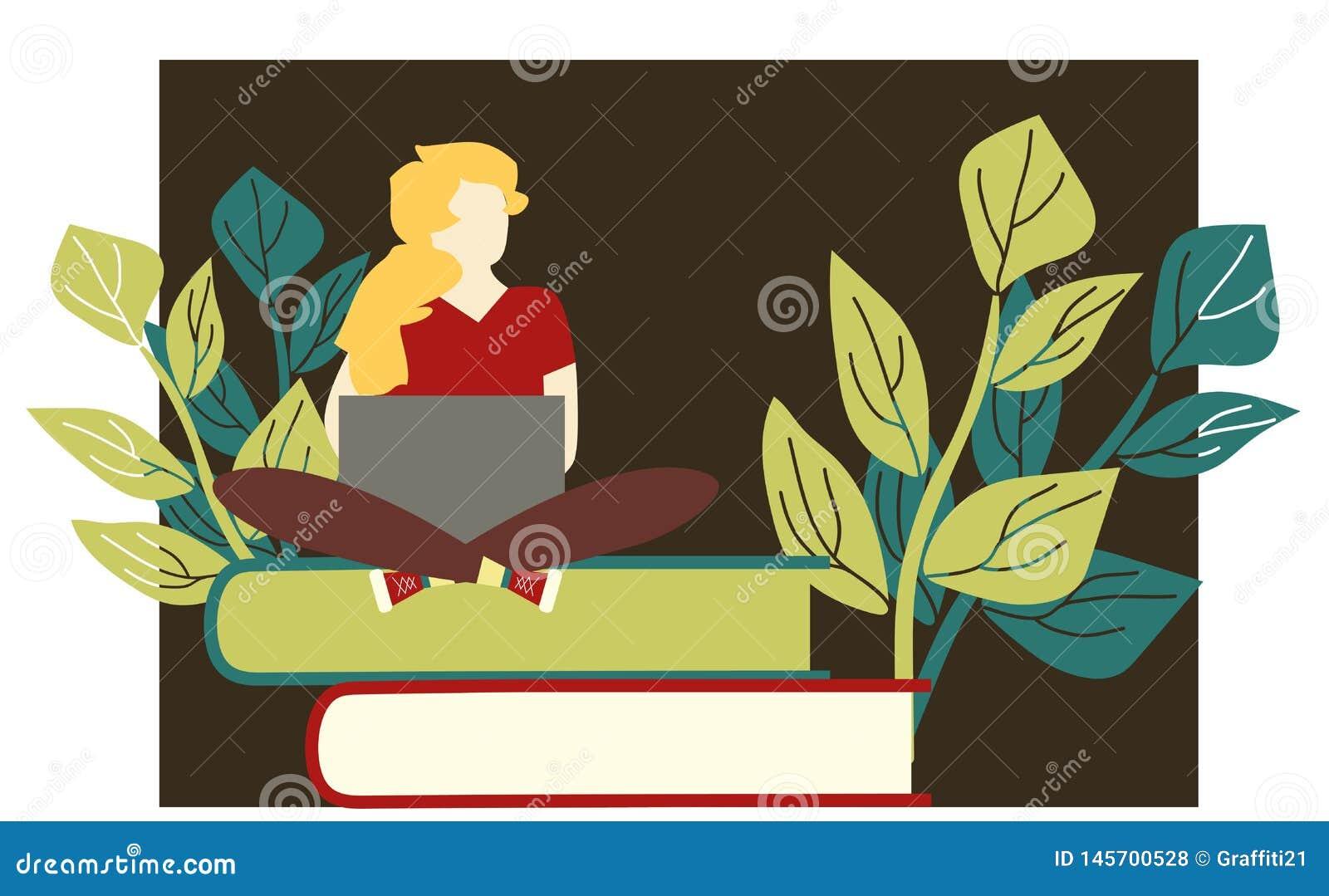 Mujer sonriente feliz que trabaja en el ordenador portátil mientras que el sentarse en el piso con las piernas cruzó Ejemplo del