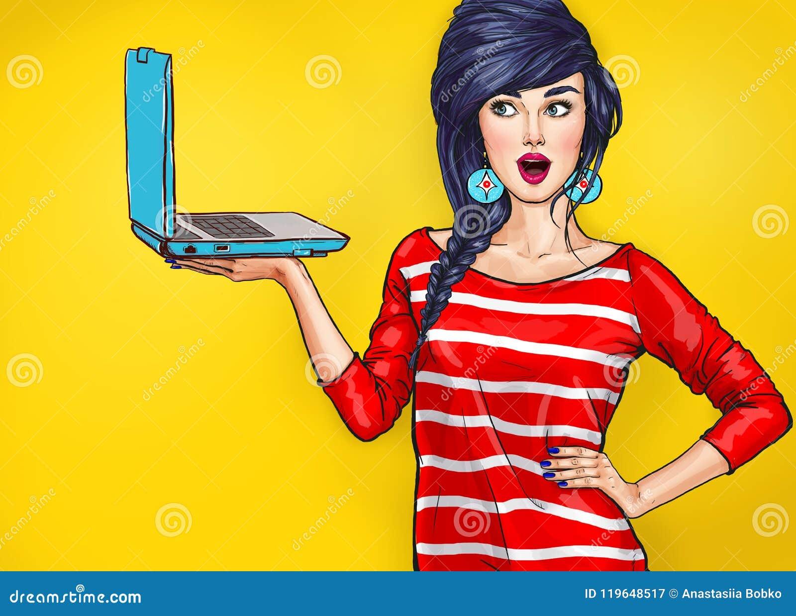 Mujer sorprendida con el ordenador portátil en la mano en estilo cómico