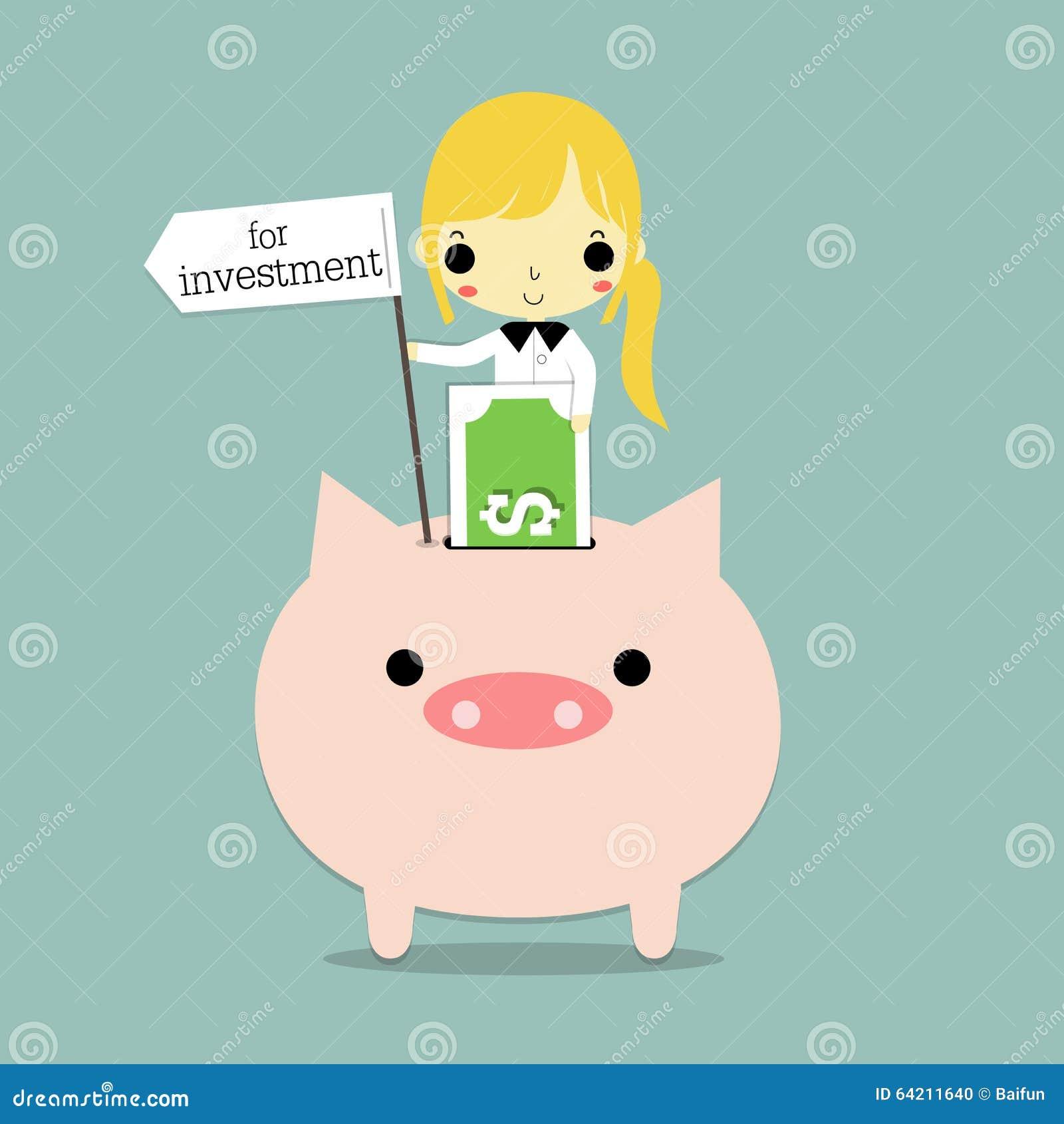 Mujer y dinero para la inversión