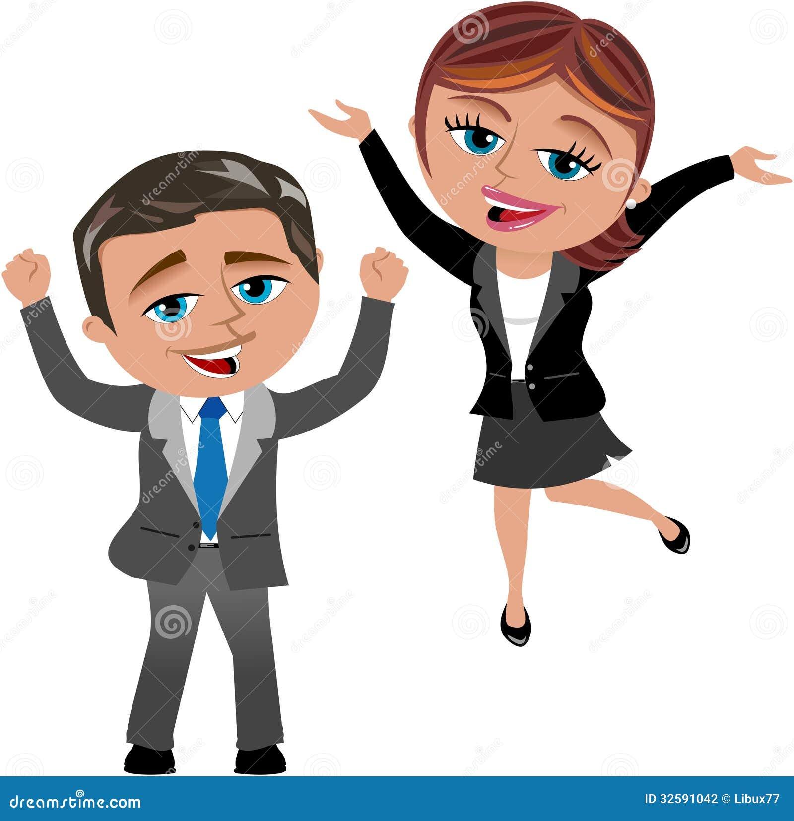 Mujer y hombre acertados de negocios