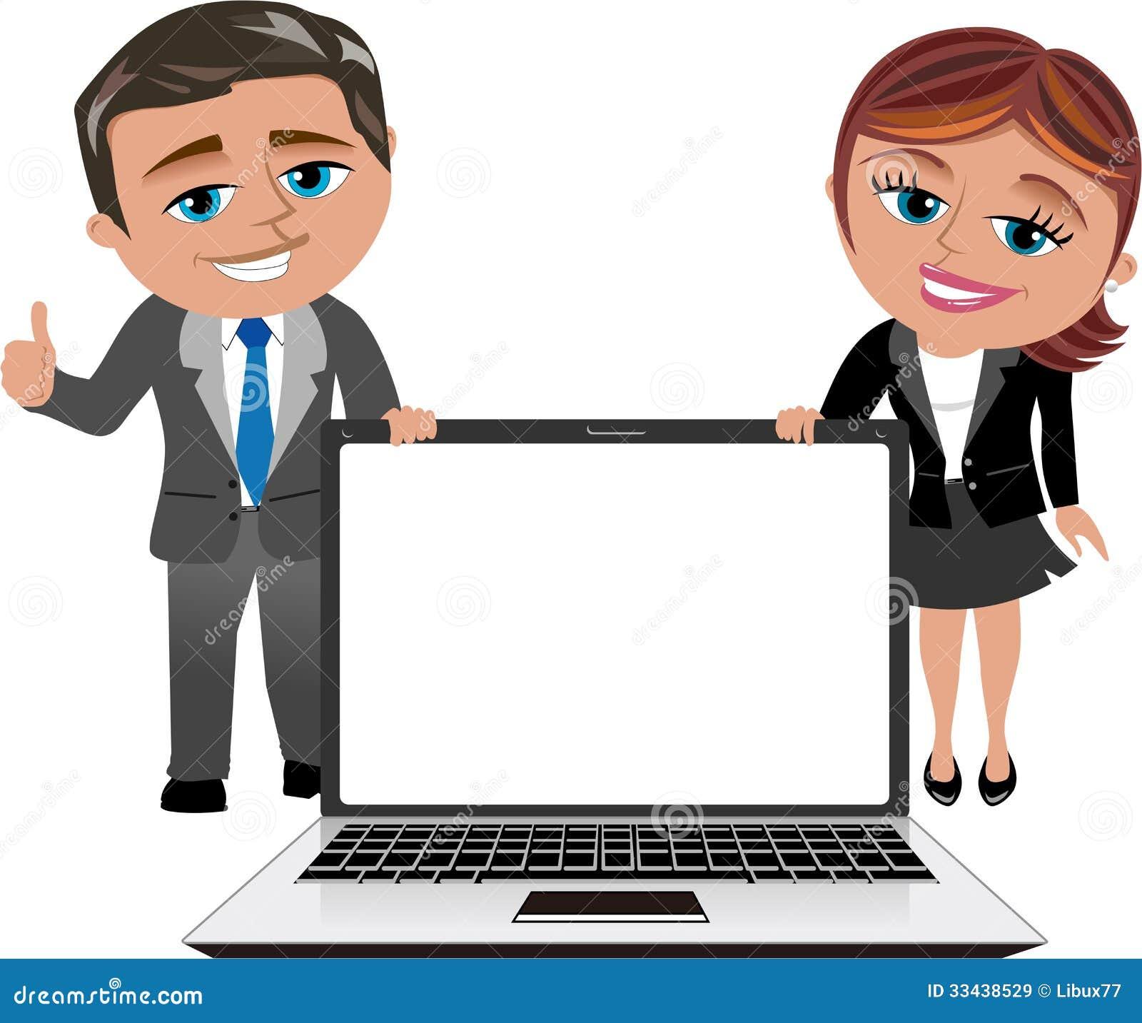 Mujer y hombre de negocios que muestran el ordenador portátil