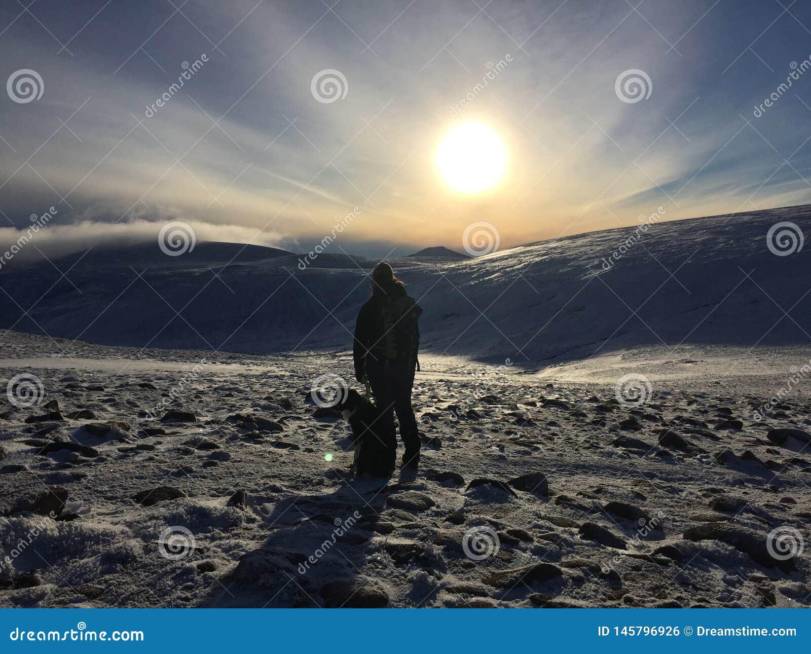 Mujer y perro que caminan en las montañas