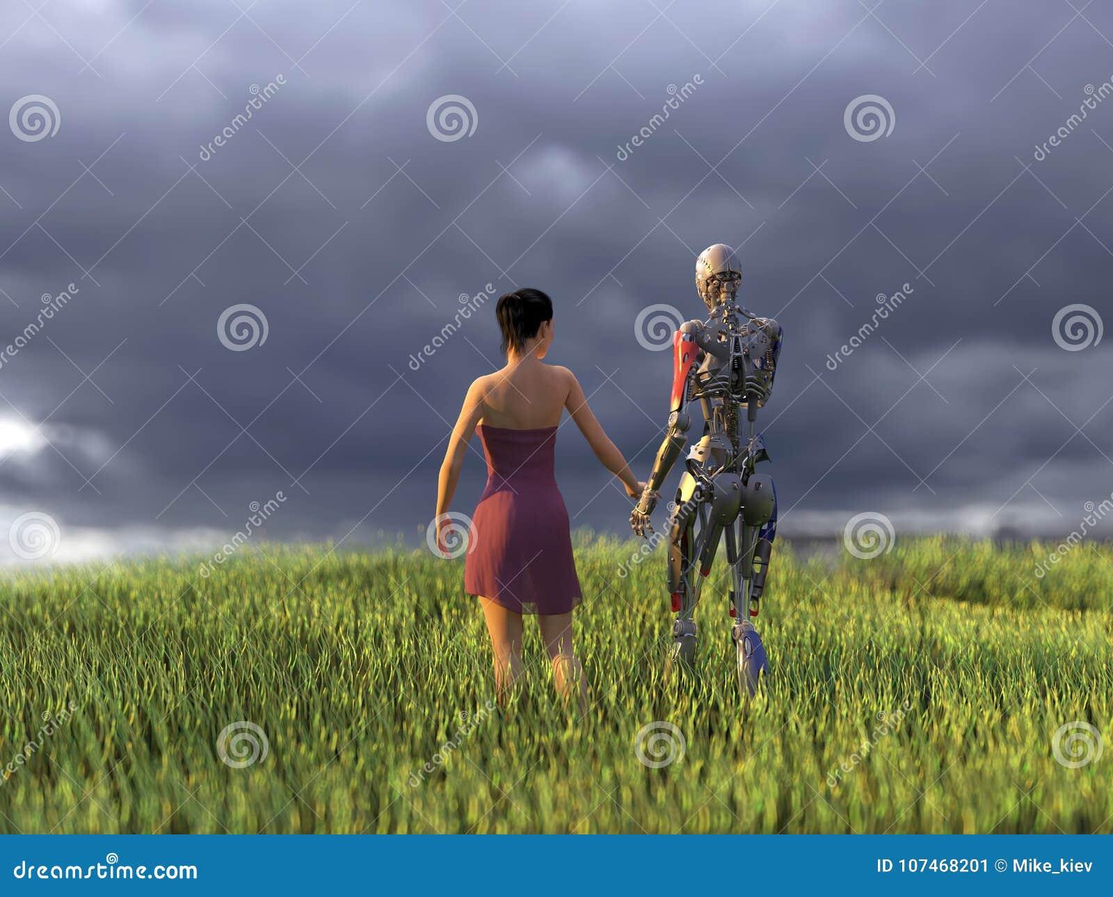 Mujer y robot en campo verde