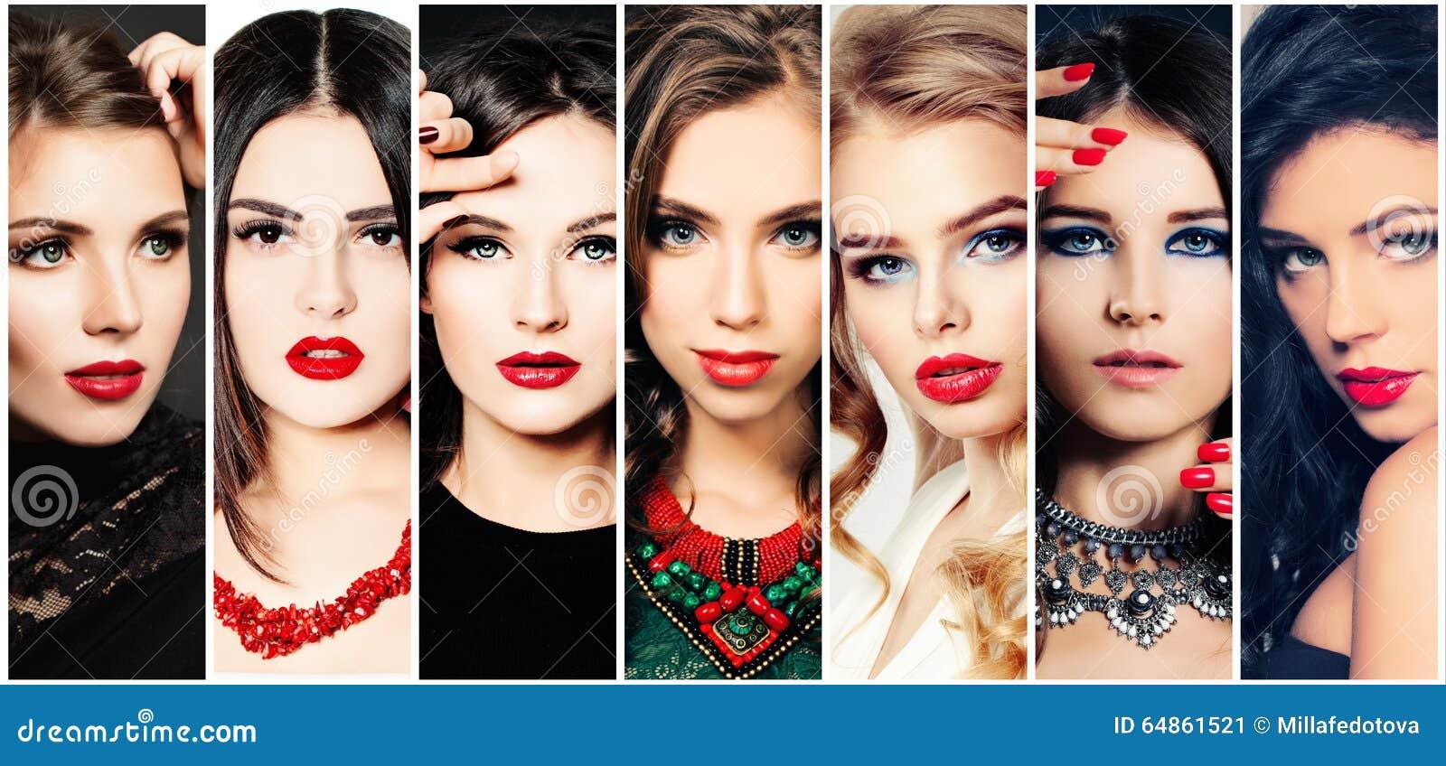Mujeres Collage de la belleza Caras de la moda