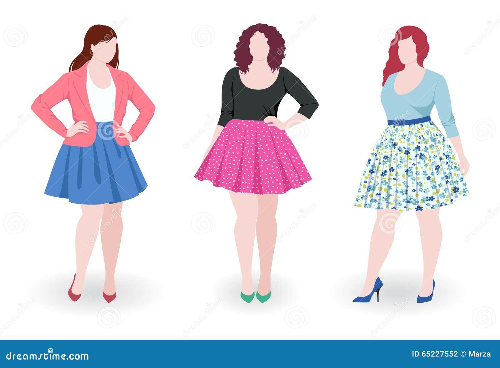 Mujeres de la moda del tamaño extra grande