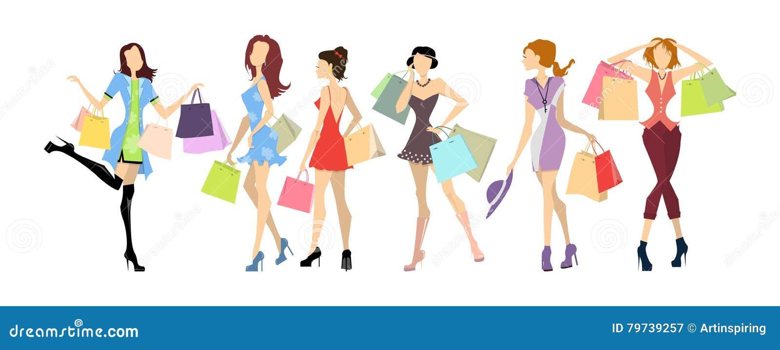 Mujeres de las compras fijadas