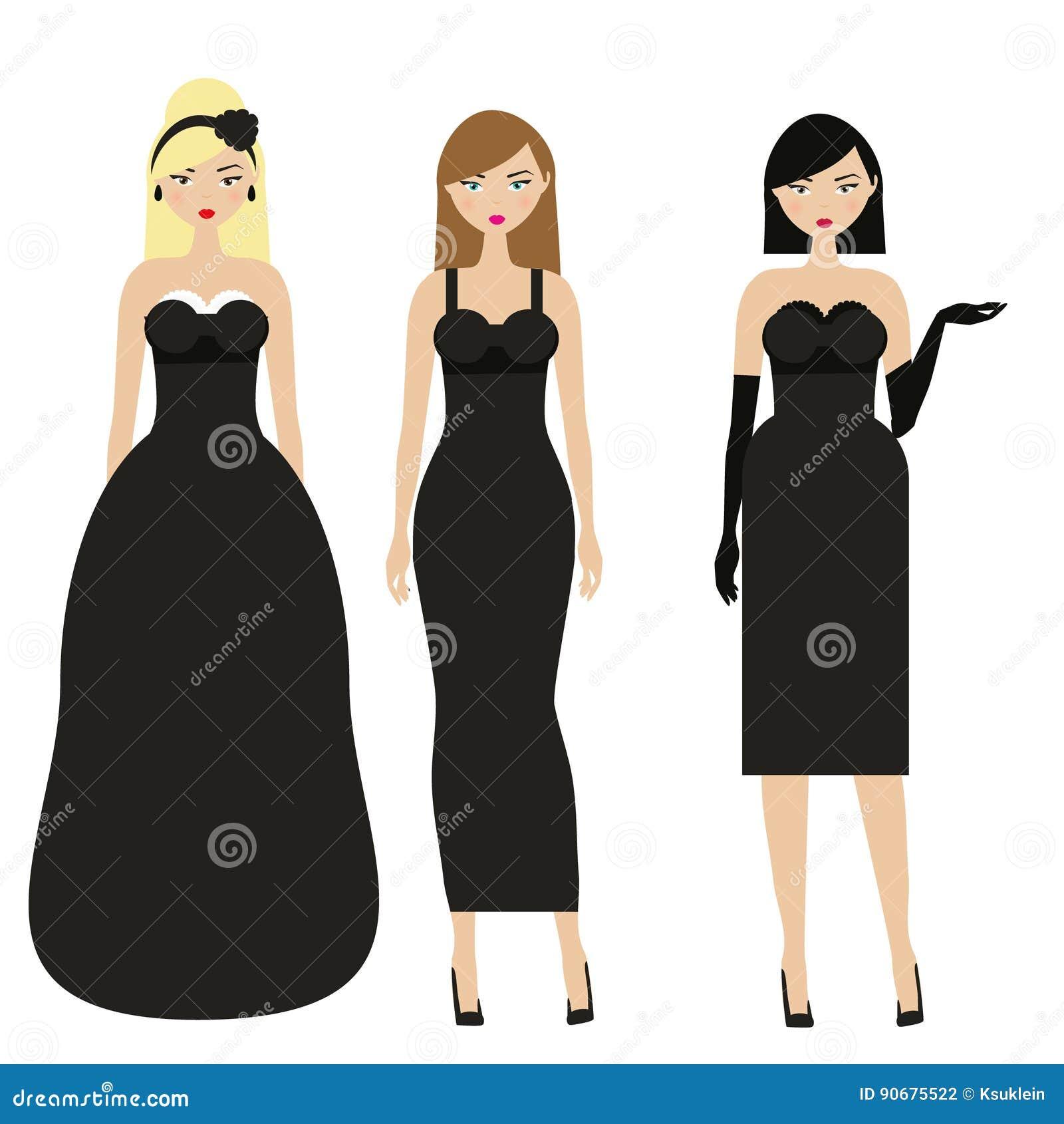fdf6e9550 Mujeres En Vestidos Negros Noche Femenina