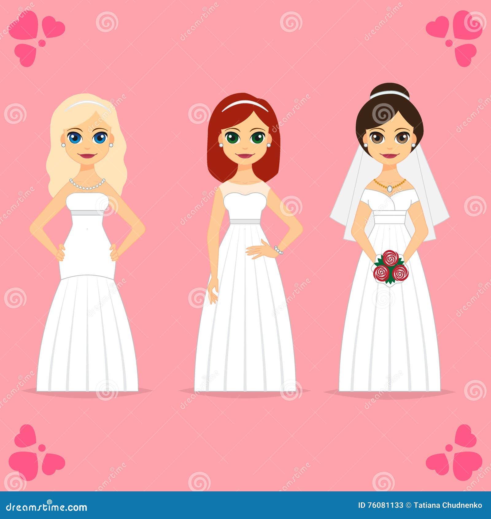 Mujeres hermosas en vestido de novia