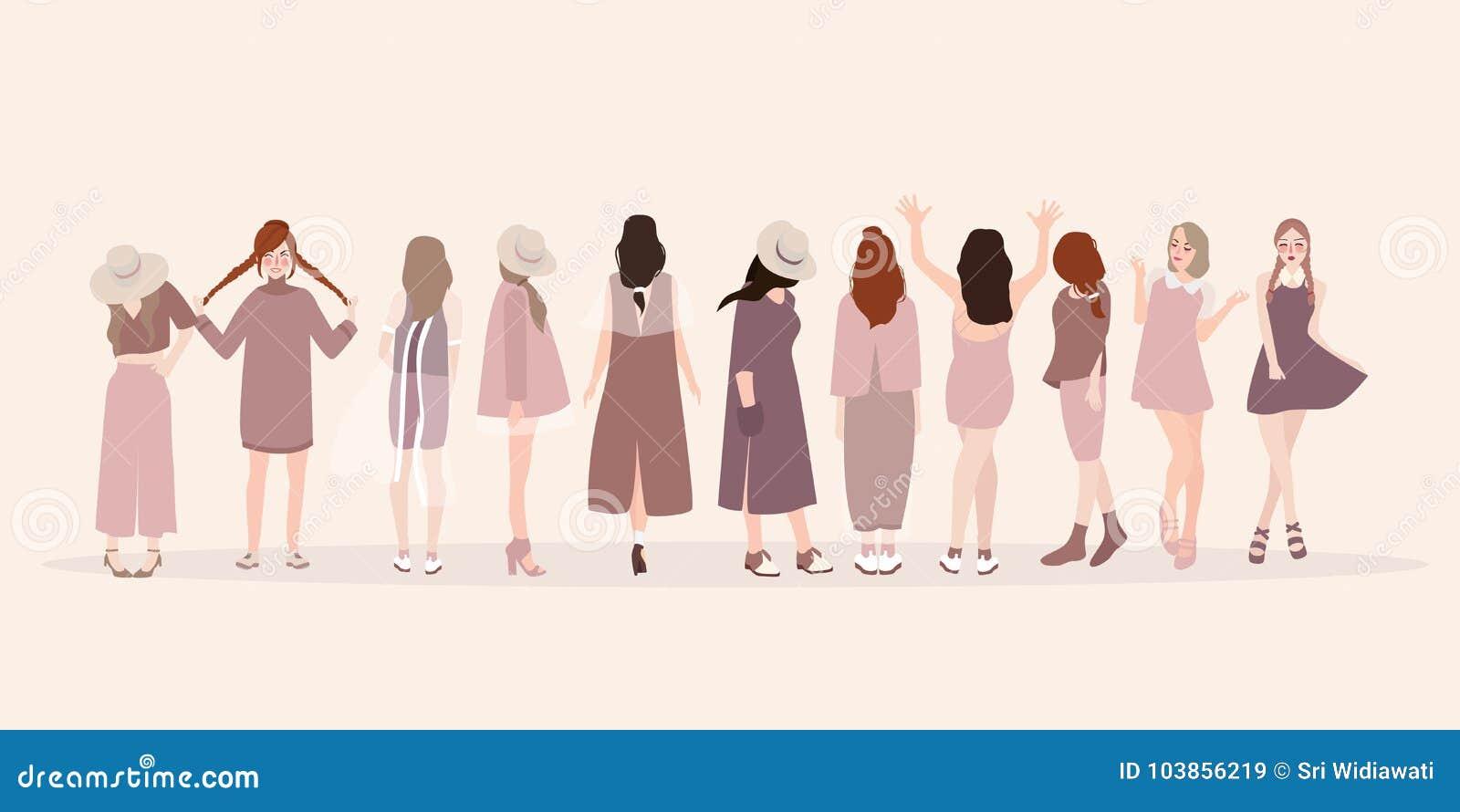 Mujeres jovenes hermosas en ropa de moda Mujeres de la manera Demostración aislada de la ropa de la actitud de la señora de la mo