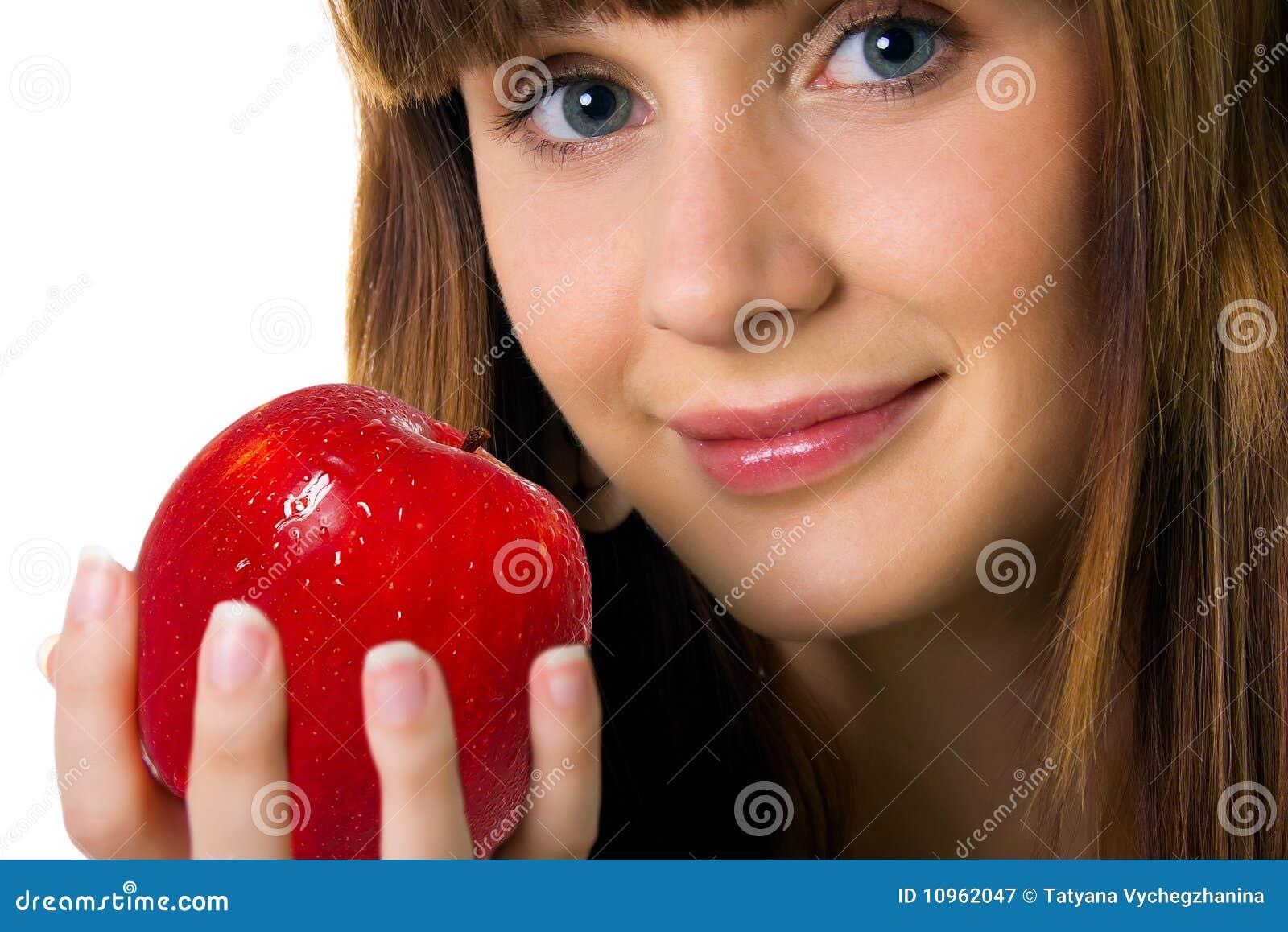 Mujeres con fondo de manzana