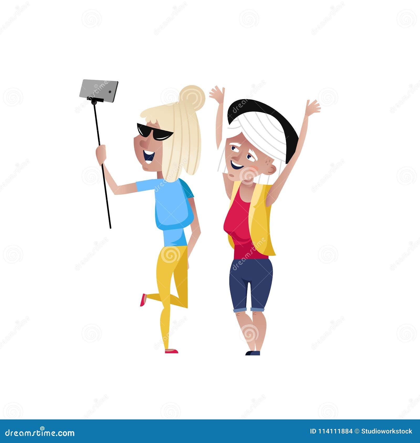 Mujeres maduras felices que hacen el carácter del selfie