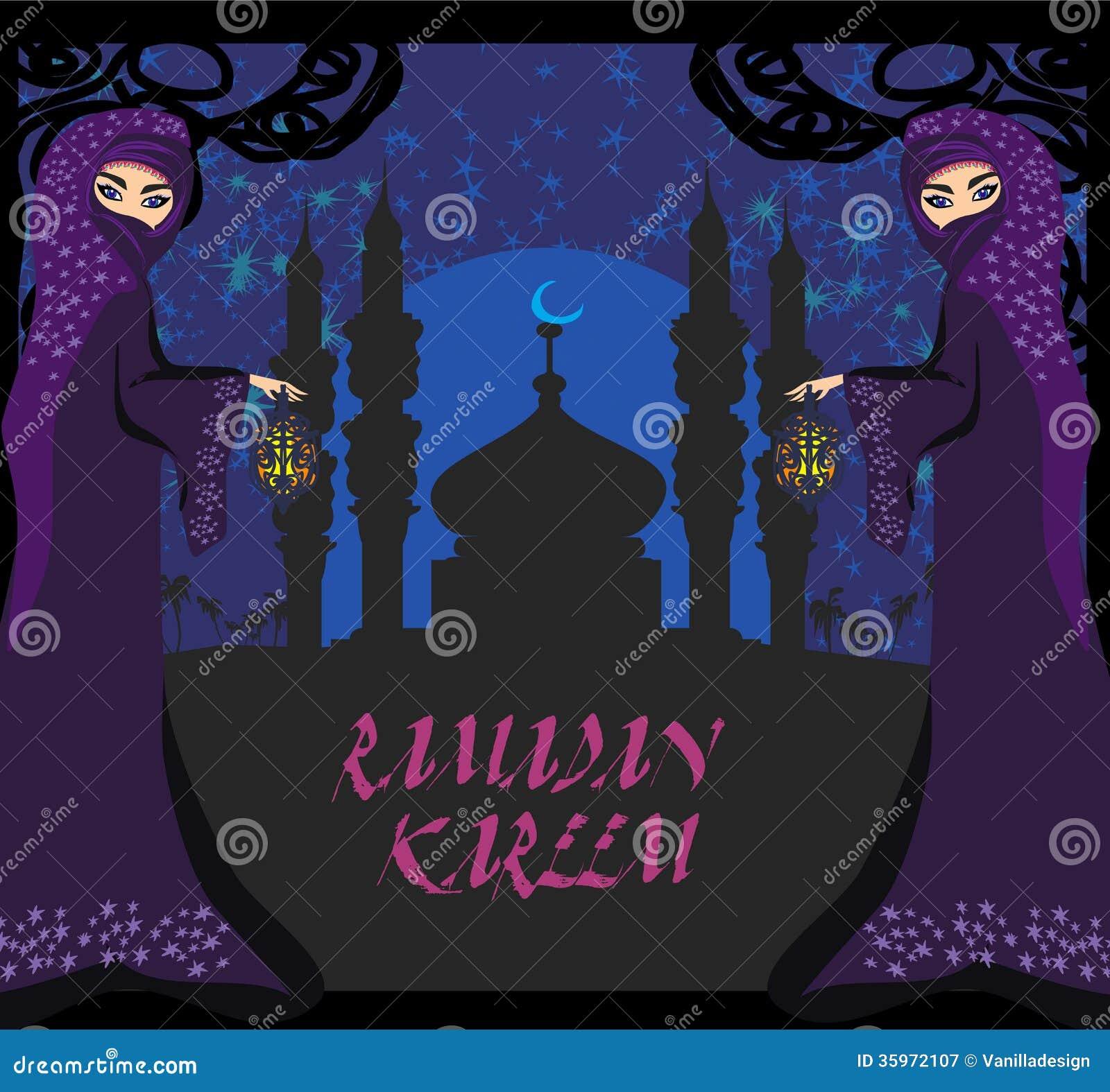 Mujeres musulmanes hermosas en fondo de la mezquita.