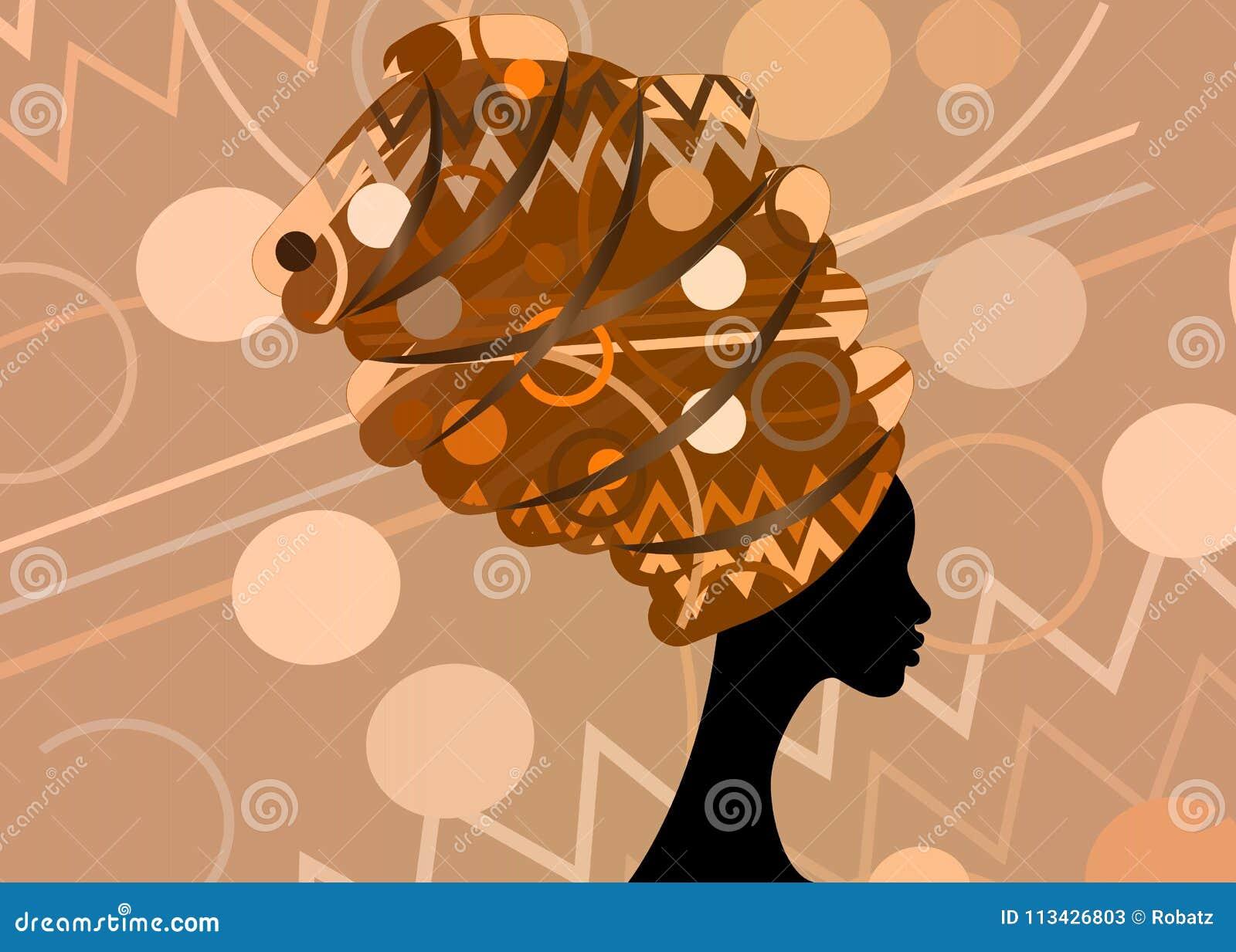 Mulher africana bonita do retrato no turbante tradicional, envoltório da cabeça de Kente, impressão do dashiki, mulheres afro pre