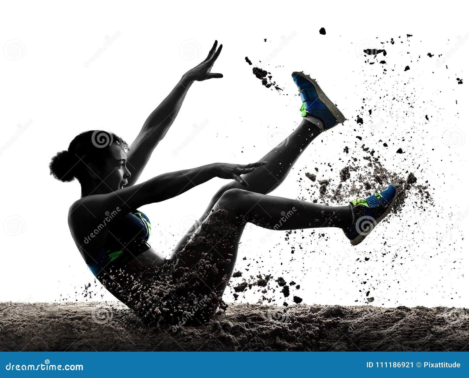 A mulher africana do salto longo do atletismo do atleta isolou o backgro branco