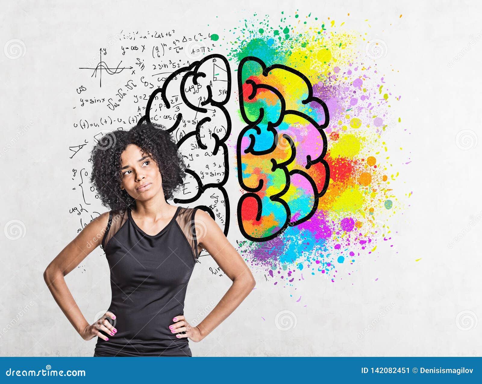 Mulher afro-americano pensativa, esboço do cérebro