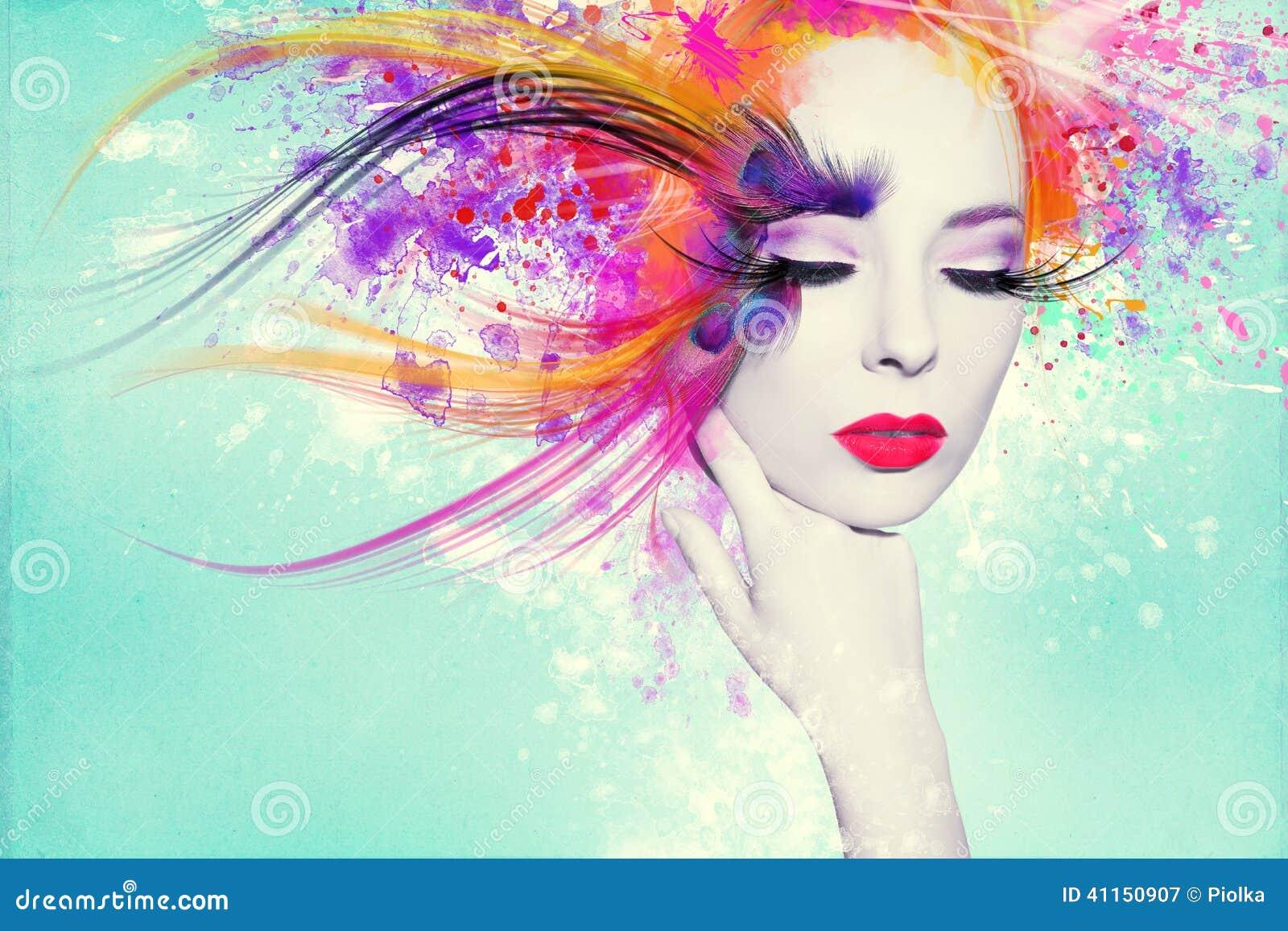 Mulher bonita, arte finala com tinta no estilo do grunge