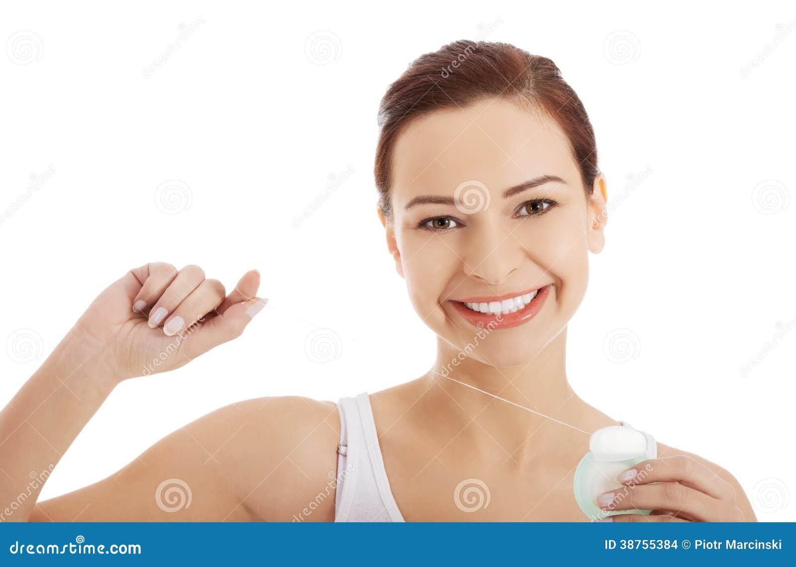 9cbb7cc09 Mulher Bonita Com Fio Dental. Foto de Stock - Imagem de dentista ...