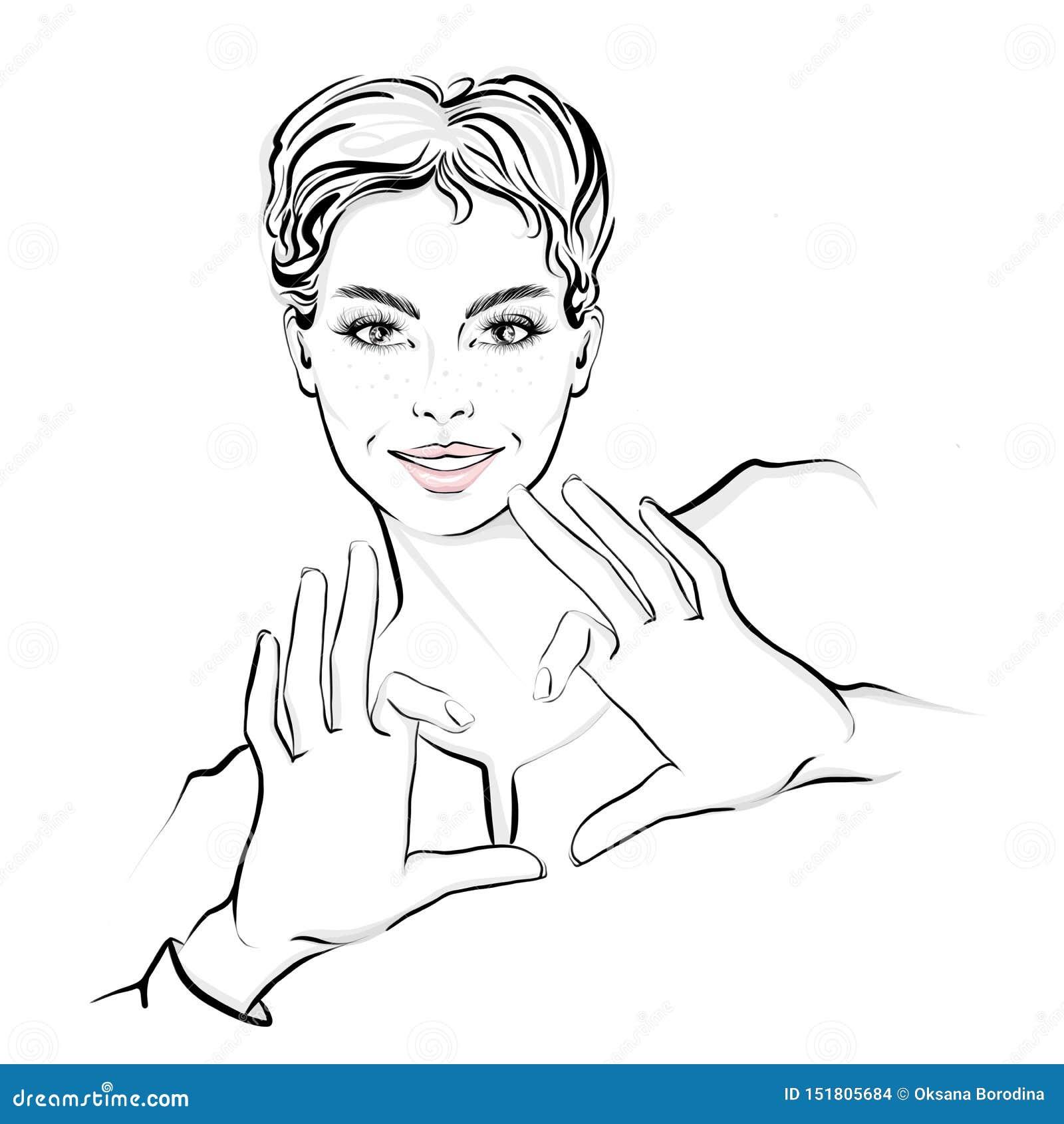 Mulher bonita com o cabelo curto, mostrando as mãos no formulário do coração