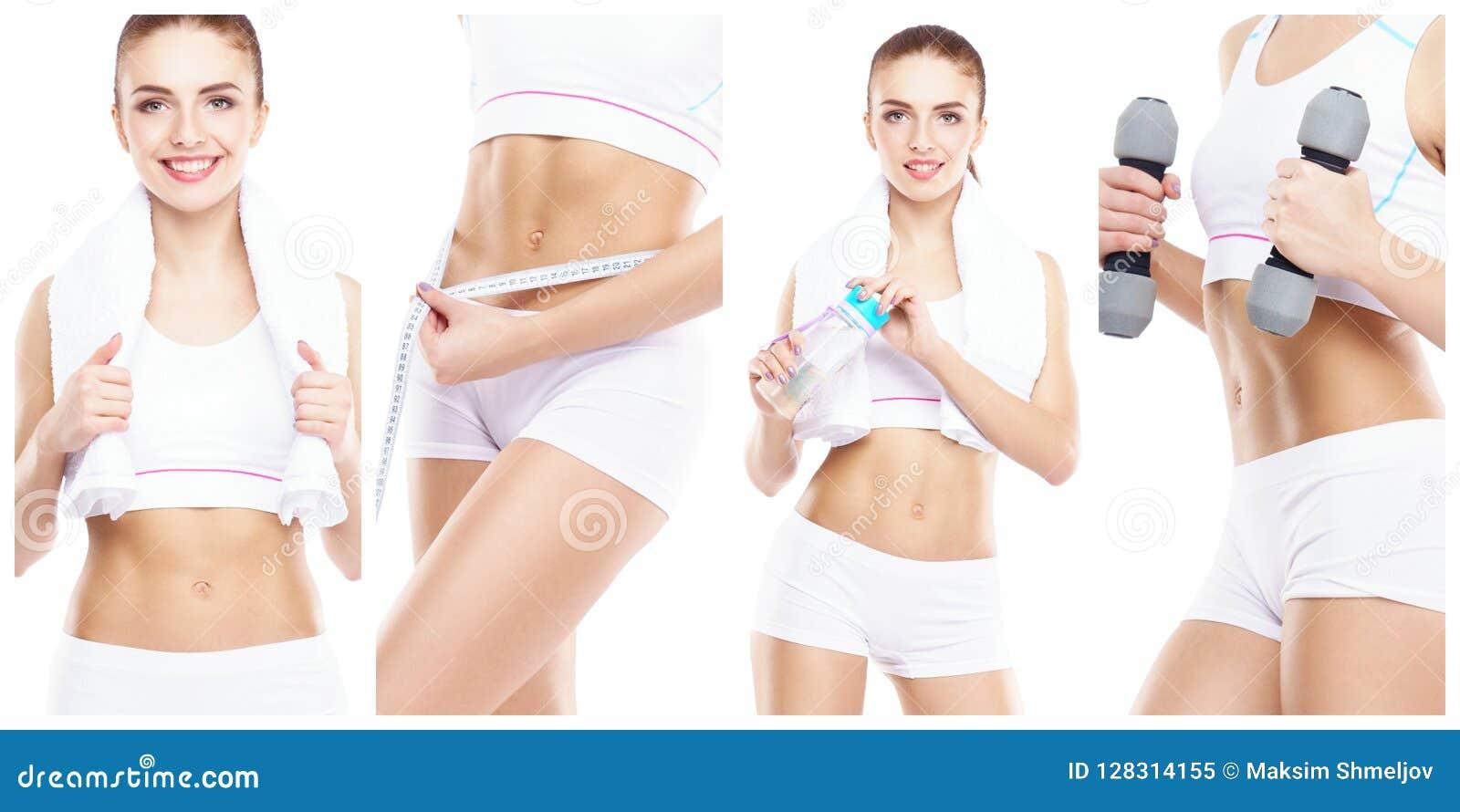 Mulher bonita e apta em um exercício da aptidão Colagem isolada Conceito da perda do esporte, da nutrição, da saúde e de peso