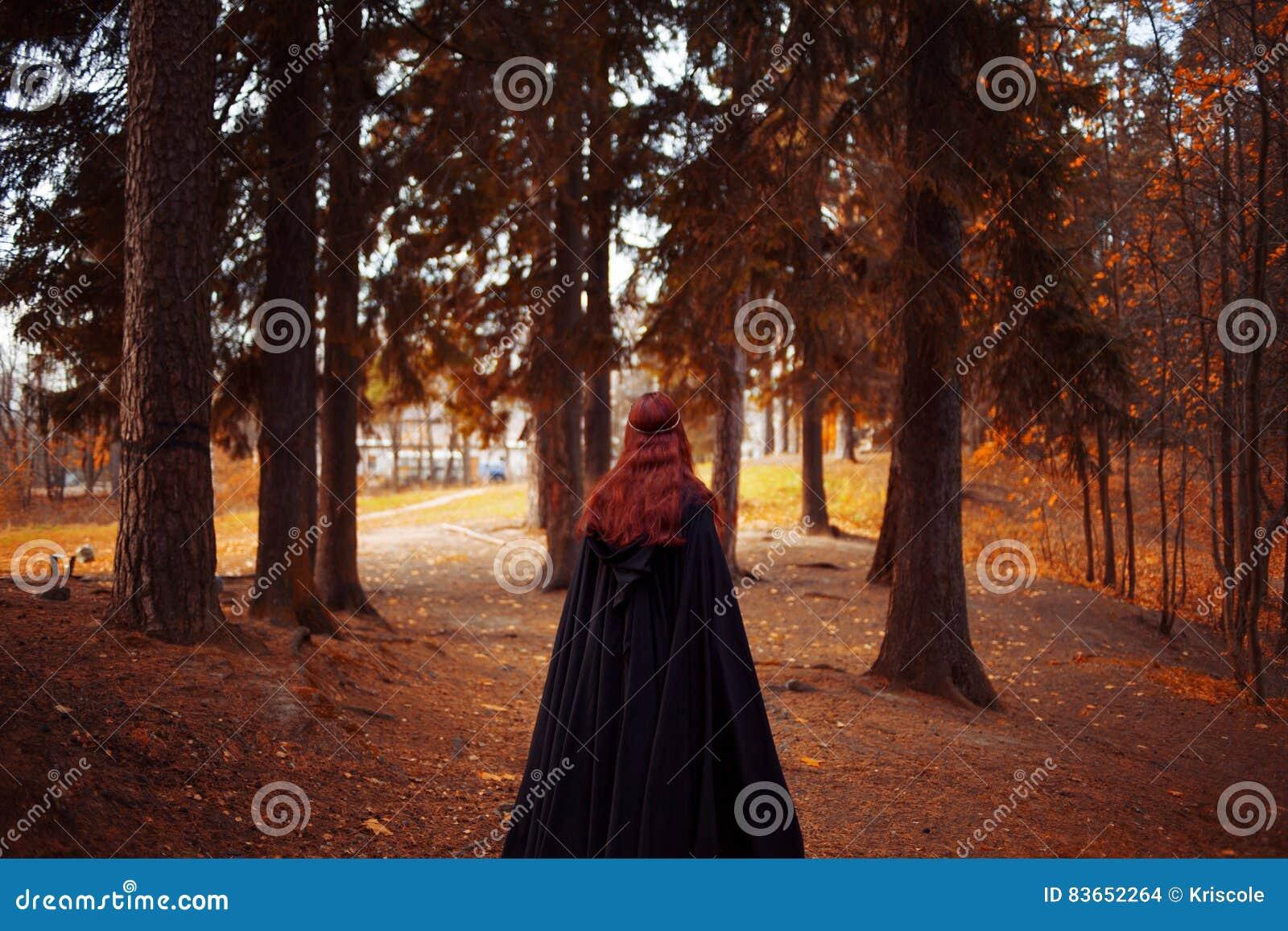 Mulher bonita e misteriosa nova nas madeiras, no casaco preto com capa, na imagem do duende da floresta ou na bruxa, traseira