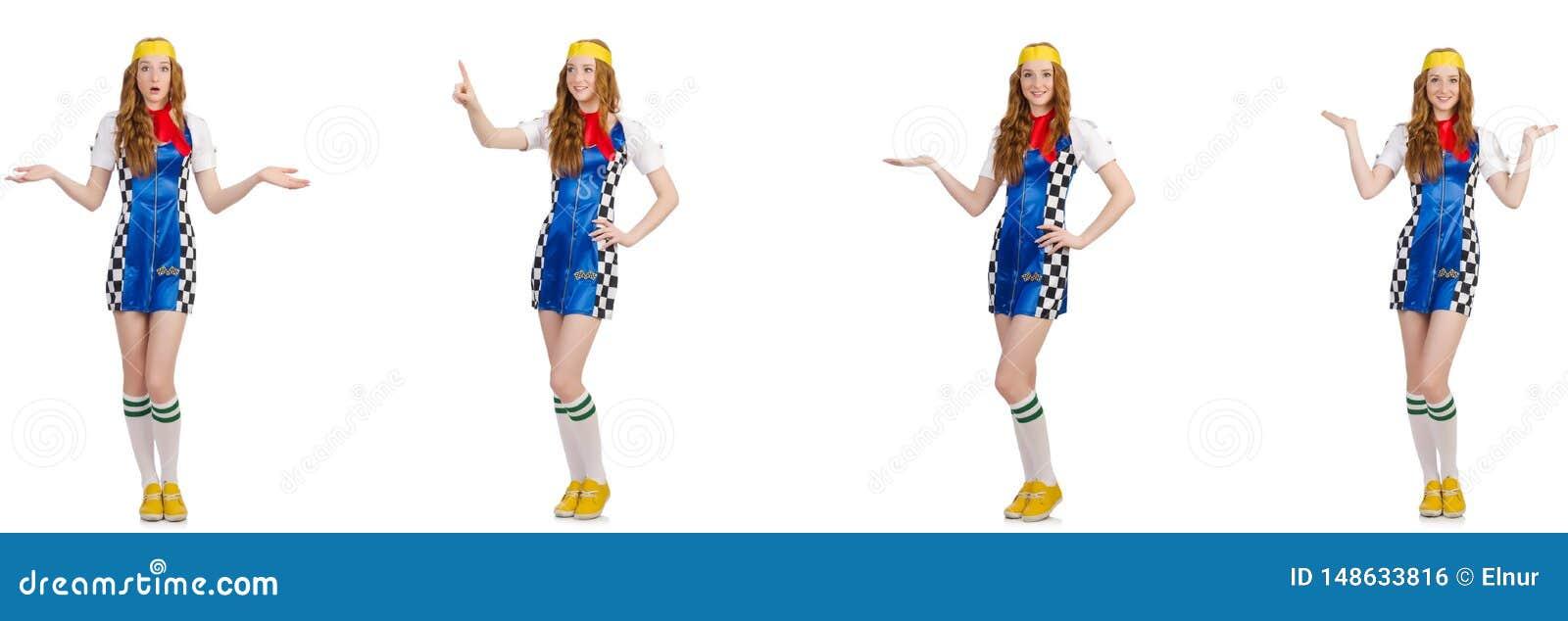 Mulher bonita em vestido checkered