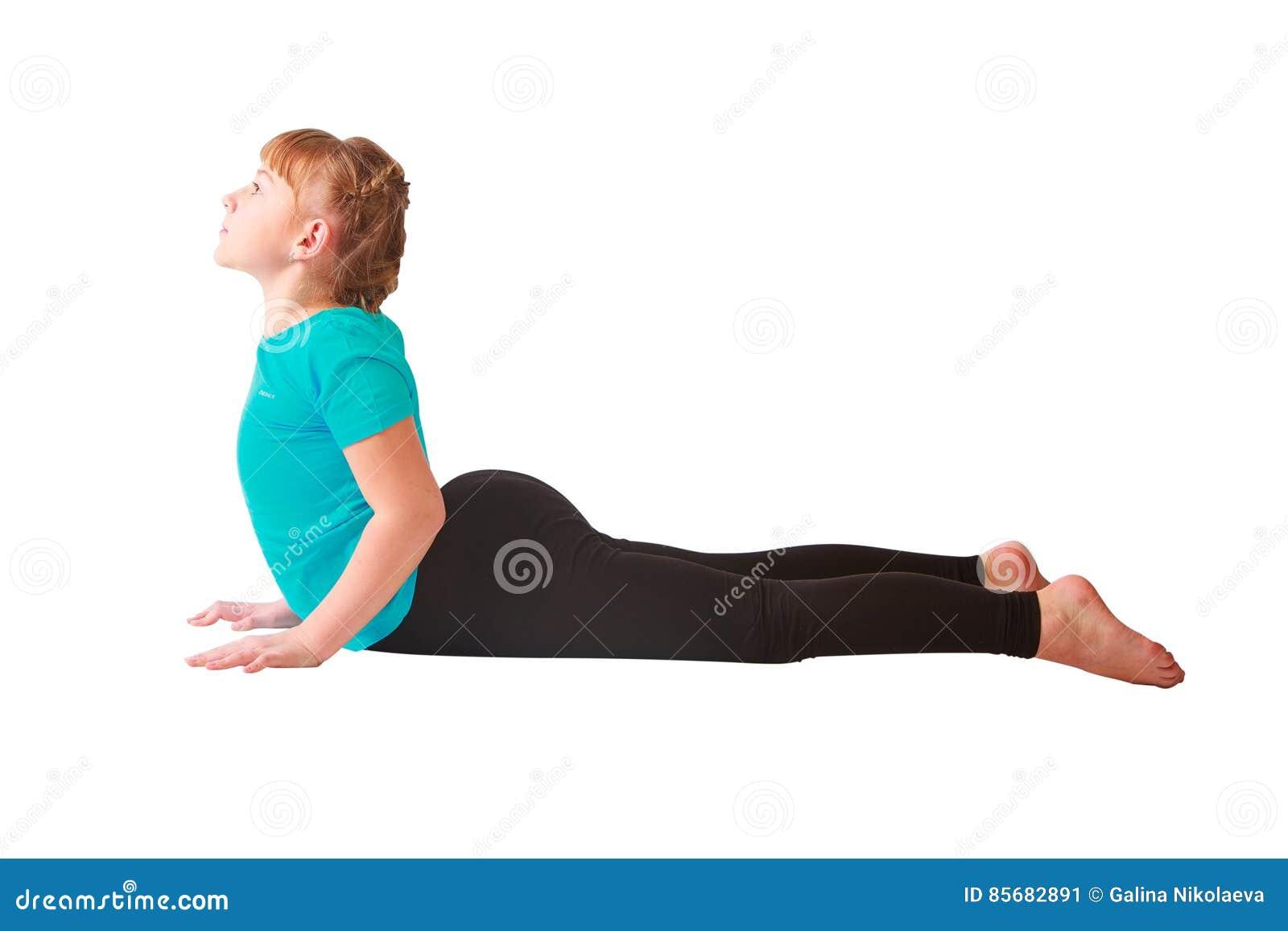 Mulher bonita que faz o fundo do branco do yoguna